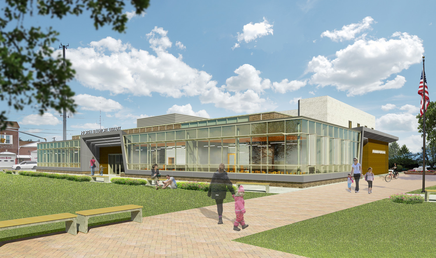 "Once completed, the expansion of the North Bellmore Library will allow for a large ""community living room,"" visible on this architect's rendering."