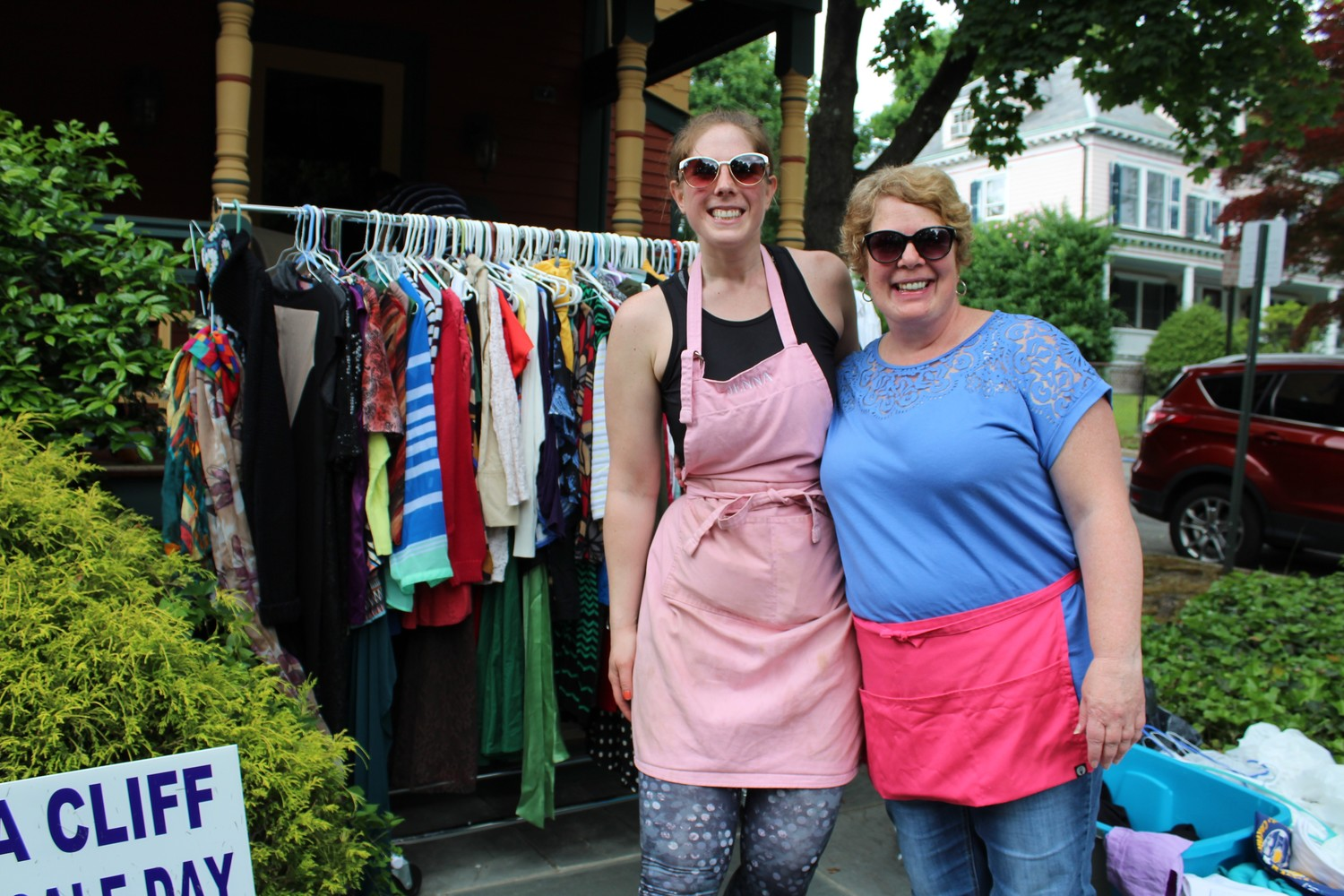 Jenna DiPietro of Sleepy Jean's Bake Co., left, and her mom, Nancy Fendt, had colorful racks of clothing lined up for shoppers.
