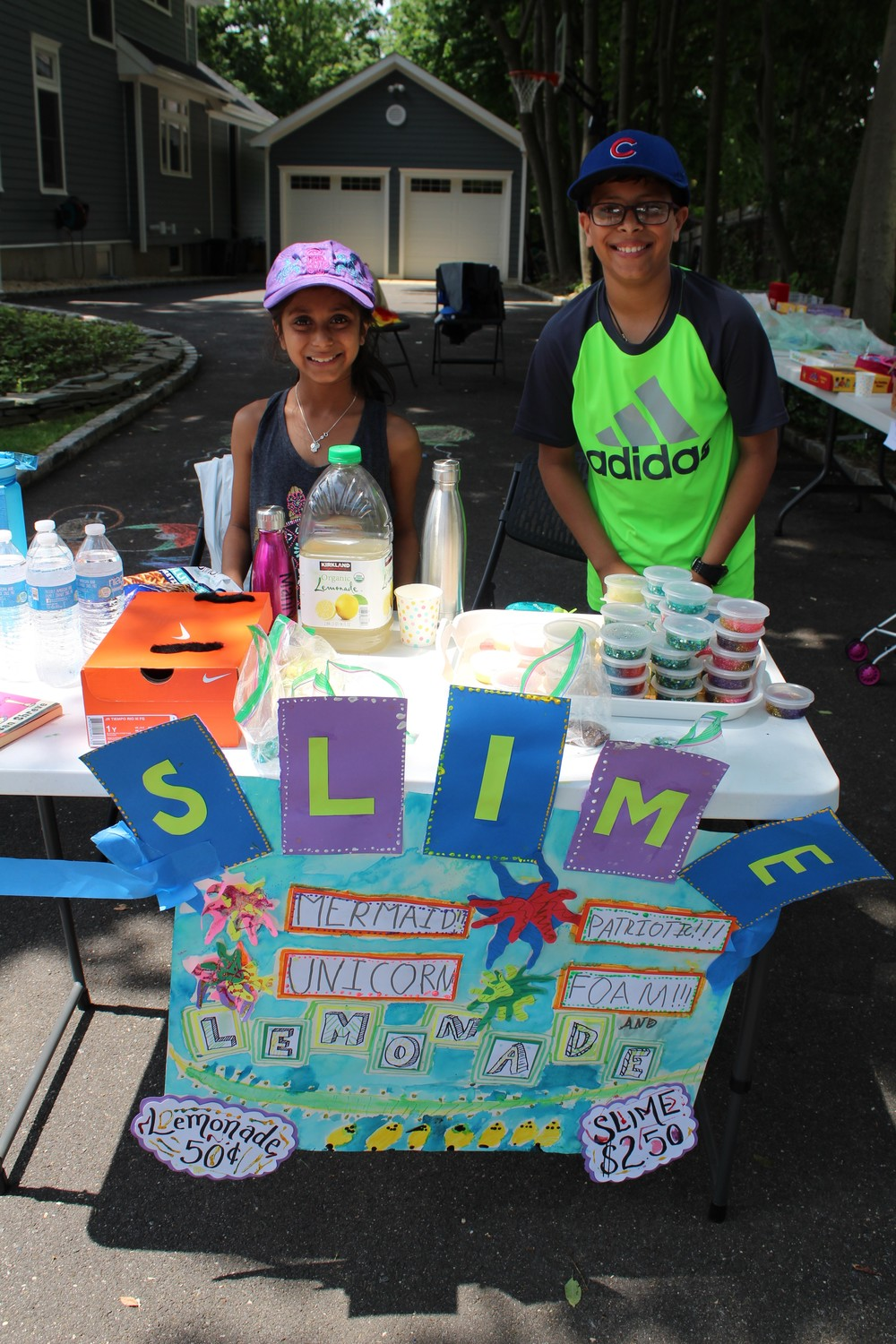 Siblings Mahiya and Aaryan Vira used their slime-making skills to make a little extra allowance at Garage Sale Day.