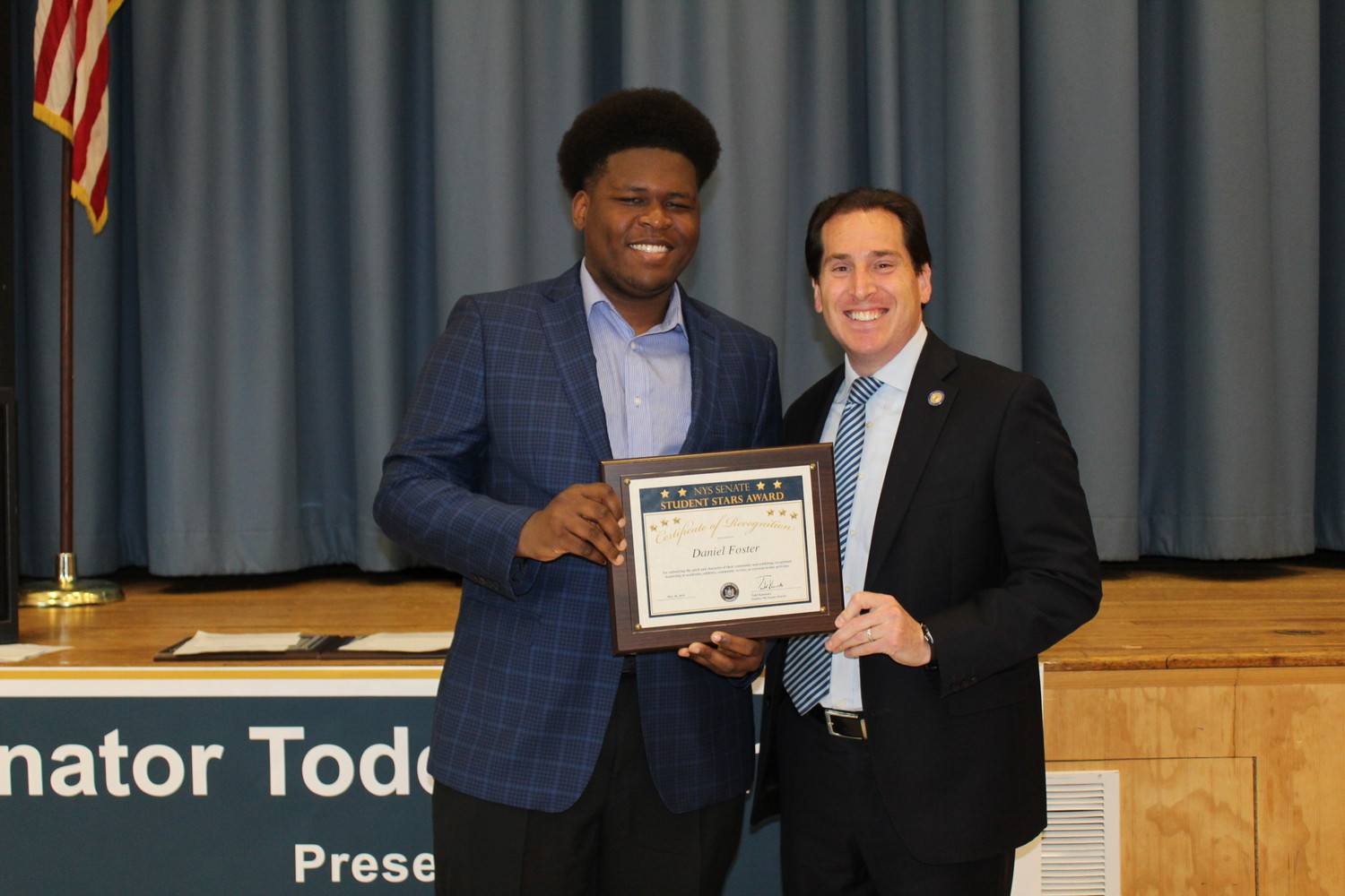 Hewlett High School senior Daniel Foster received a New York State Senate Student Star Award from State Sen. Todd Kaminsky for excelling in and outside of the classroom.
