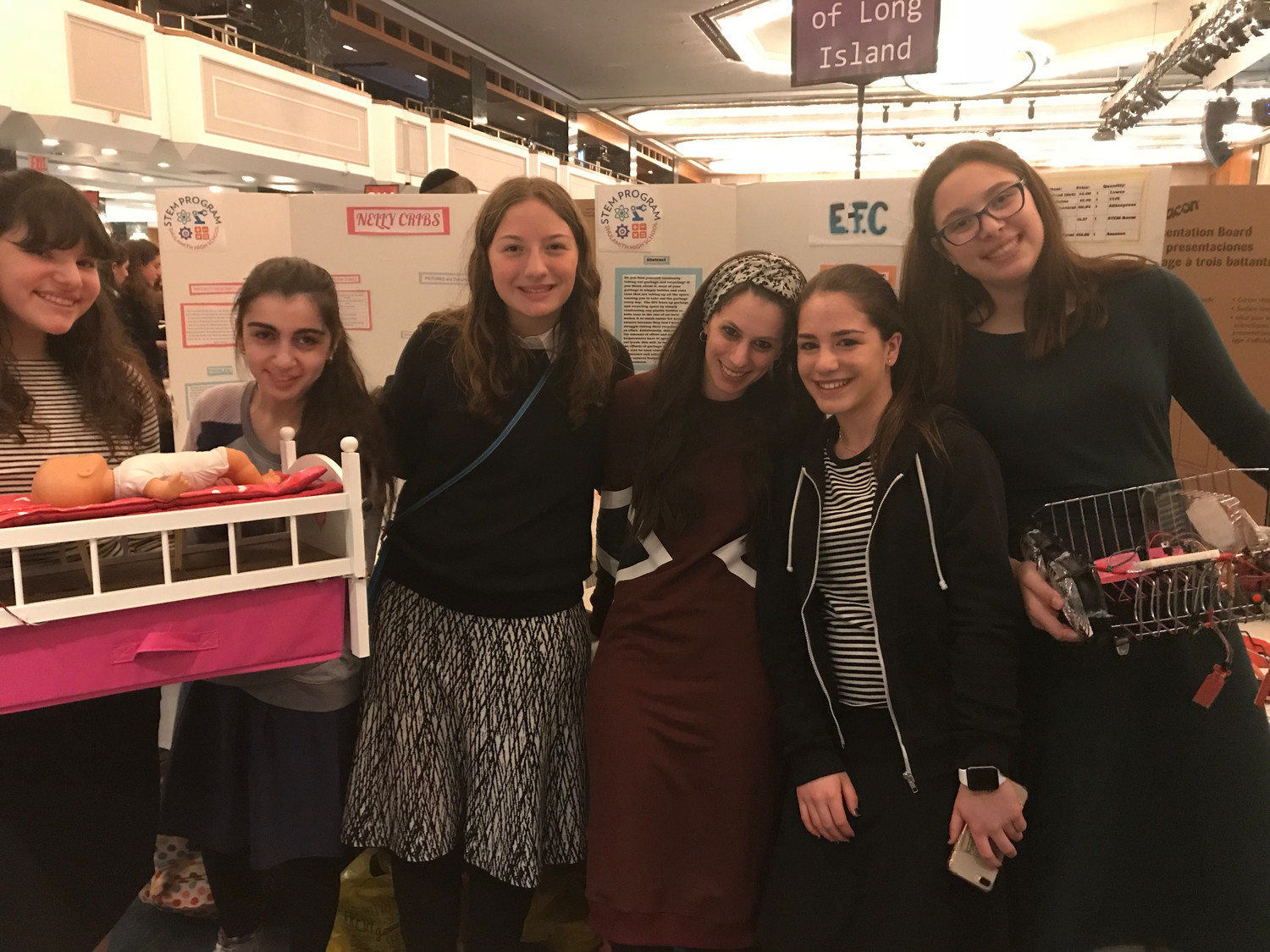 Shulamith High School produced three projects for the national Science, Technology, Engineering and Math trivia competition, and freshman Basya Vishnepolsky captured a first-place prize. From left Chaya Warren, Sarah Antonelli, Gabriella Grossman, Tamar Herskowitz, Noam Maman and Vishnepolsky.