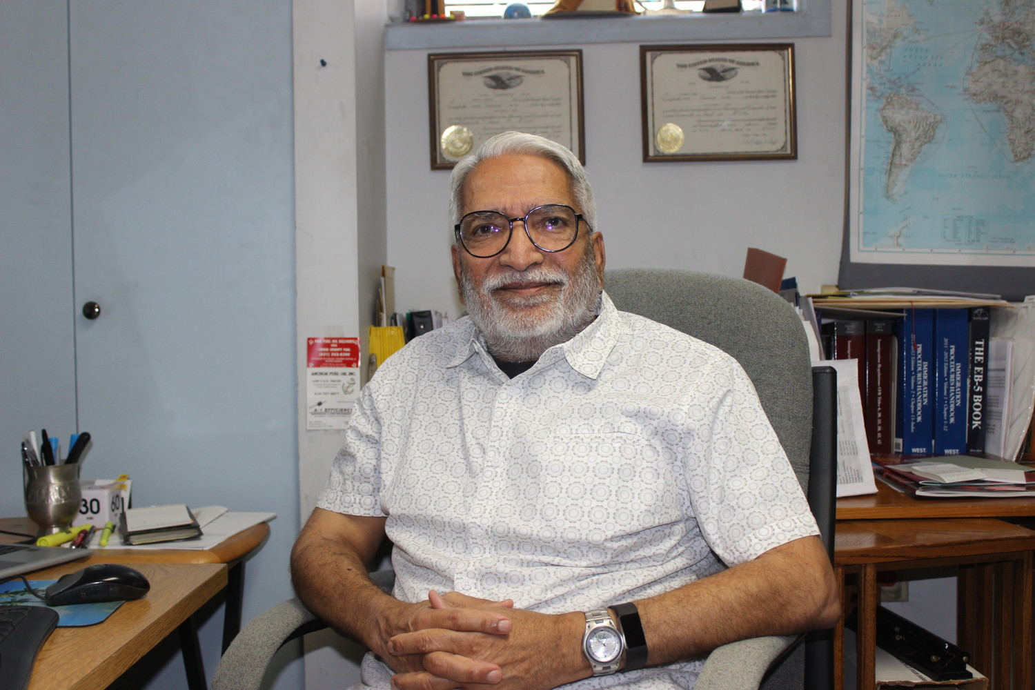 Pravinchandra Patel, 80, of East Meadow, immigrated to the United States from Gujarat, India, in 1970. Seven years later, he began studying immigration law to help others succeed in the U.S. He has written several books on the subject, including a series, Patel's Immigration Law Library.