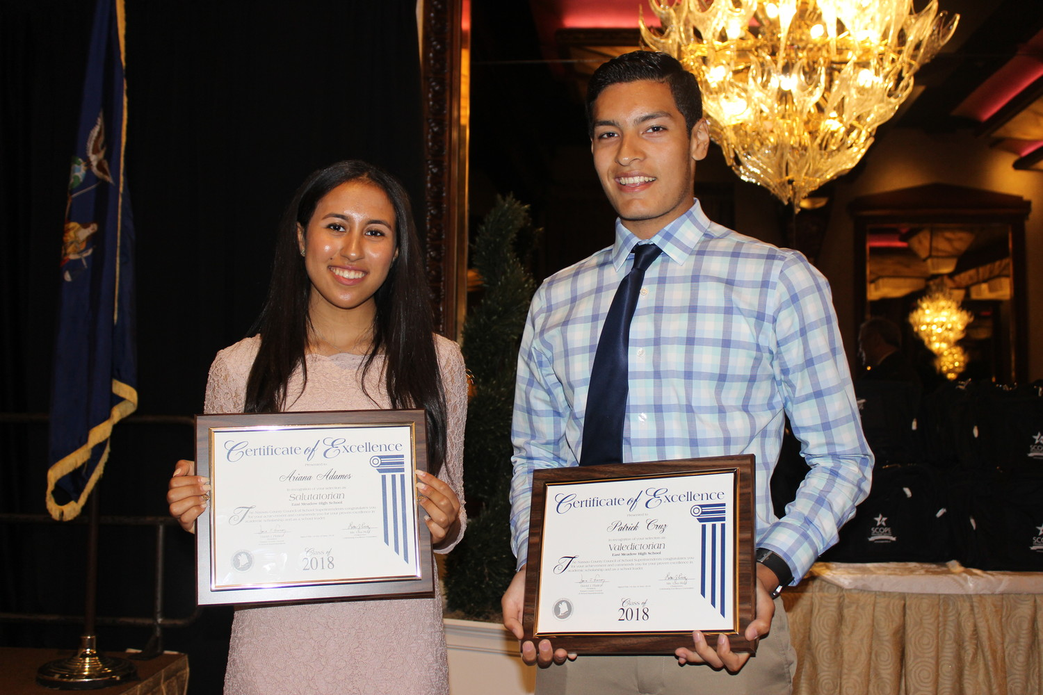 Ariana Adames, left, is this year's salutatorian at East Meadow High School and Patrick Cruz is this year's valedictorian.
