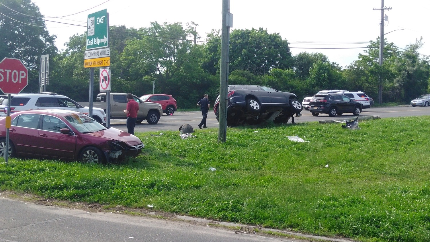 A sports utility vehicle going northbound on Wantagh Avenue overturned on June 8.