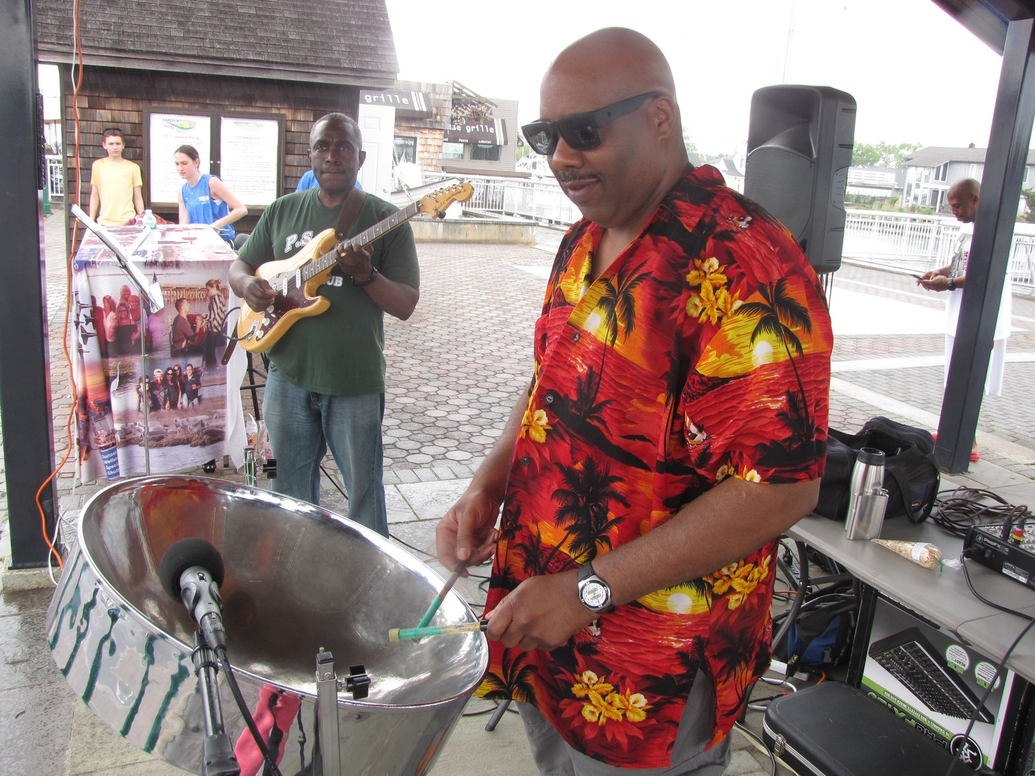 The steel drum band Ricardo and Friends performed under the Esplanade on the Nautical Mile.