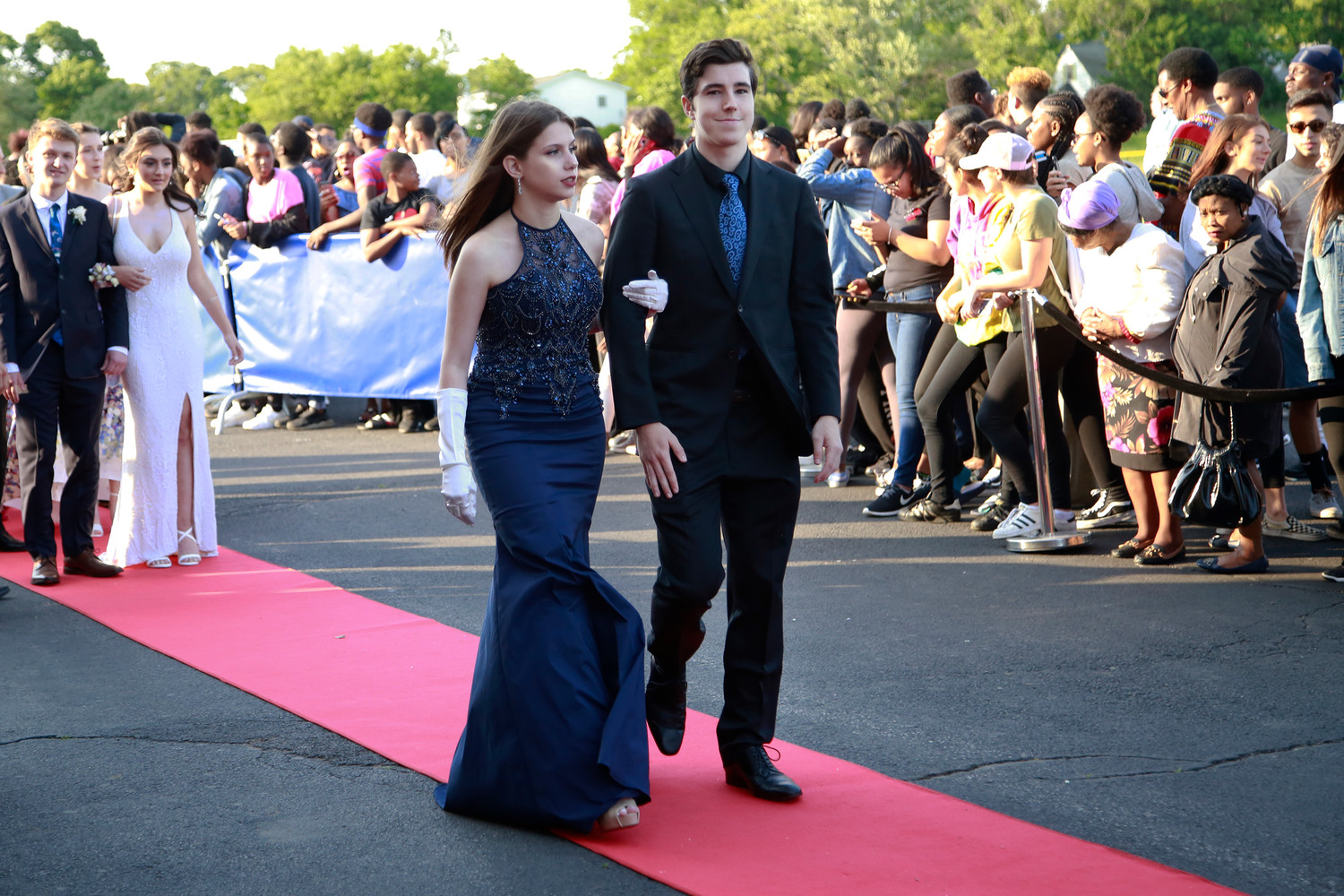 Elizabeth Ray, above right, and Blake Jamilkoswki also walked the red carpet.