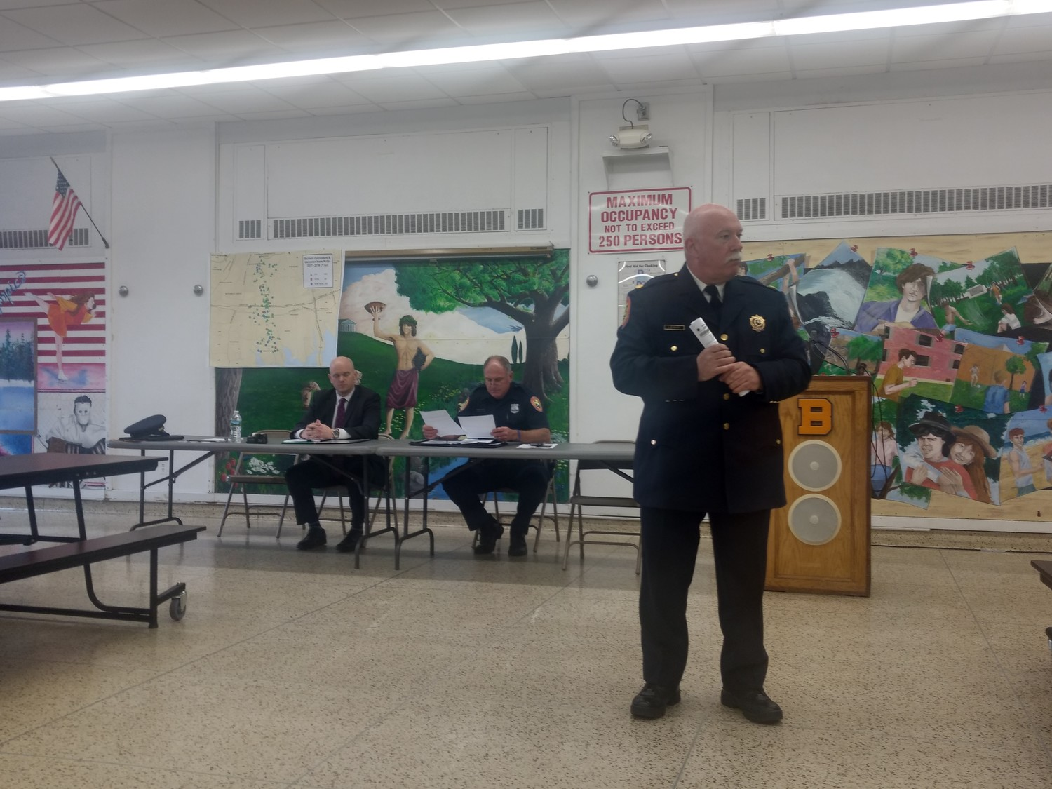 NCPD Inspector Bill Leahy addressed opioid enforcement at a recent Baldwin Civic Association meeting.