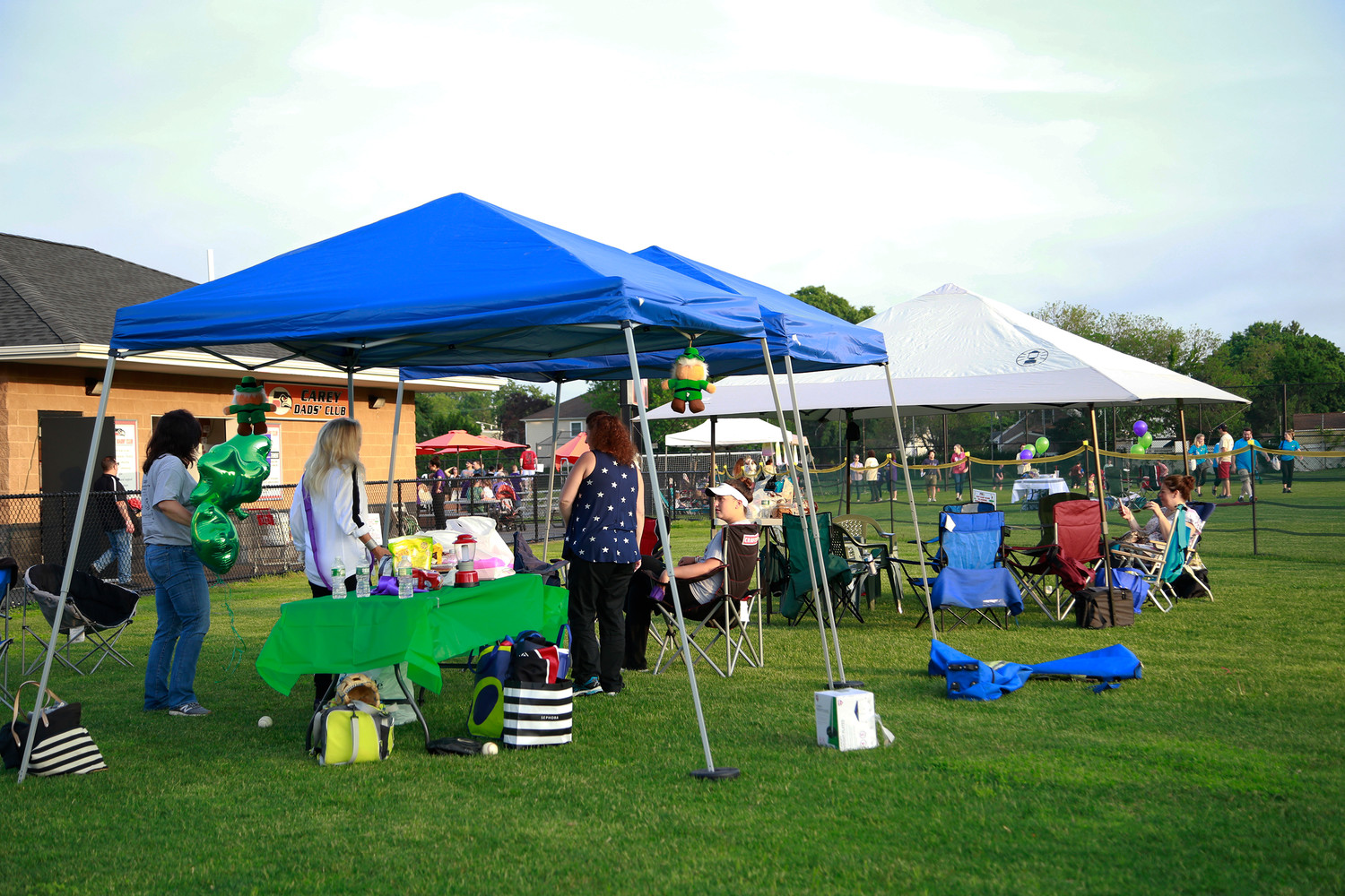 Relay participants set up their tents on Carey's field to prepare for an entire night of walking the track.