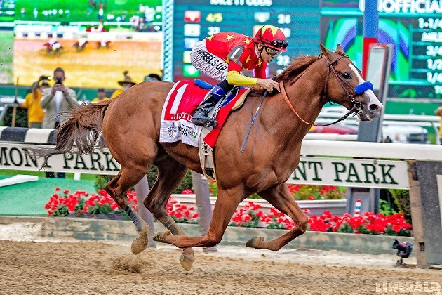 Justify, with jockey Mike Smith aboard, never trailed in last Saturday's 150th running of the Belmont Stakes and joined a short list of racing immortals as the 13th Triple Crown winner.