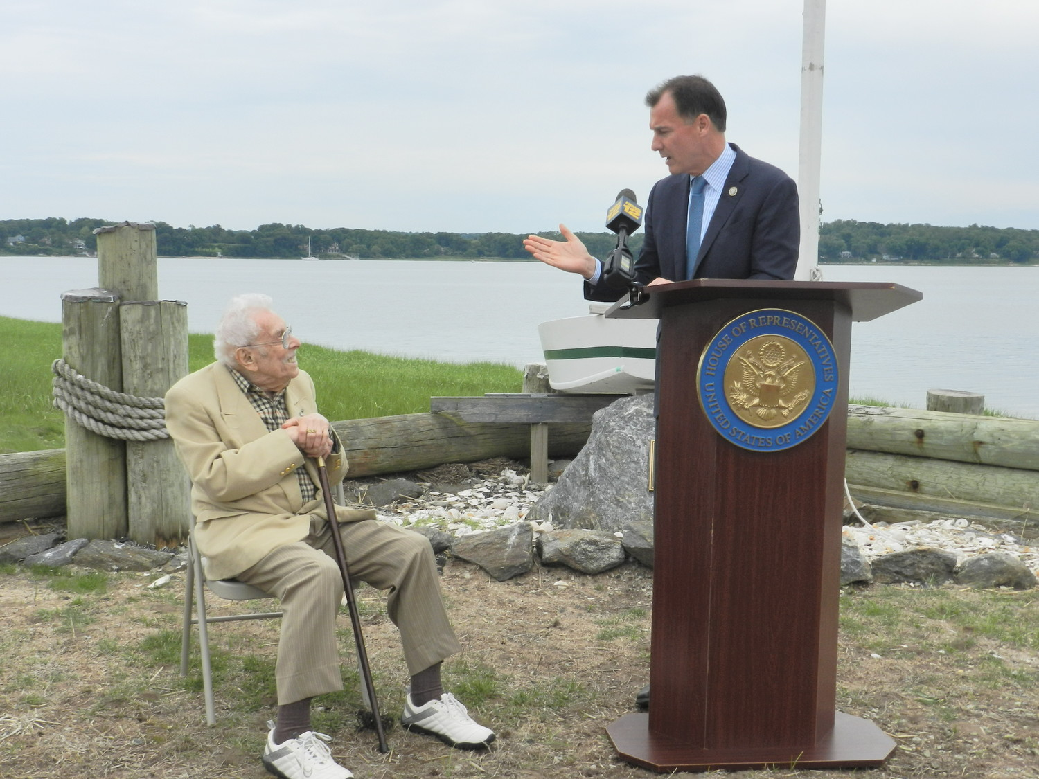U.S. Rep Tom Suozzi held a news conference last Sunday in Bayville to announce his proposal to rename the Oyster Bay National Wildlife Refuge in honor of former U.S. Rep. Lester Wolff, left.