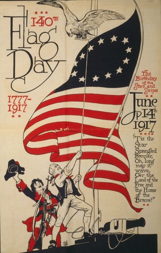 An old poster commemorates the 140th Flag Day.