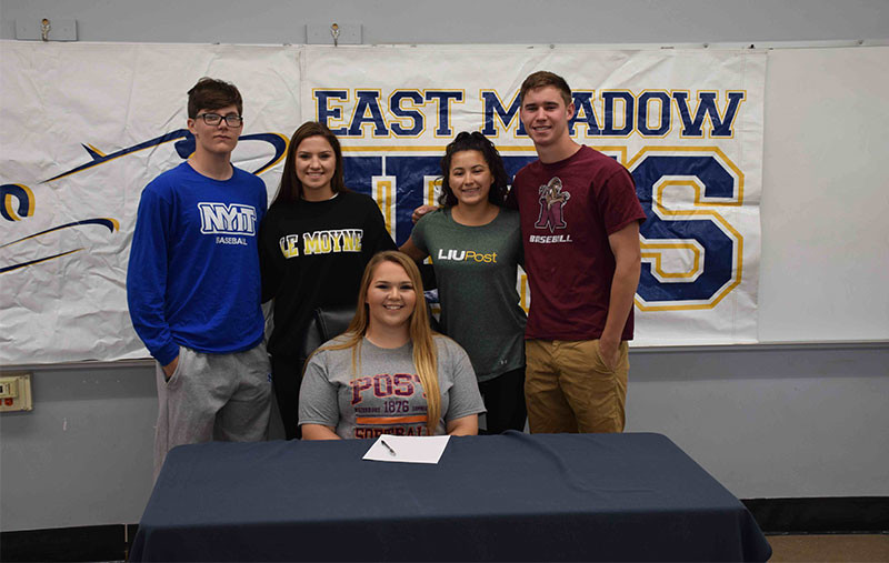 Seniors from East Meadow High School signed national letters of intent to continue their athletic careers at the college level.