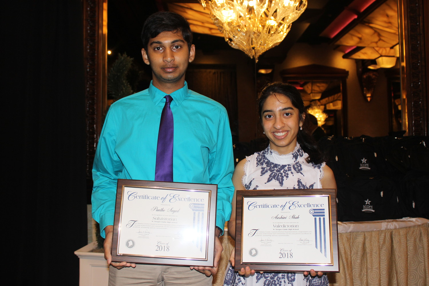 Aashini Shah and Pantho Sayed, the salutatorian of W.T. Clarke, were honored by Nassau County at a breakfast at the Crest Hollow in Jericho on June 1.