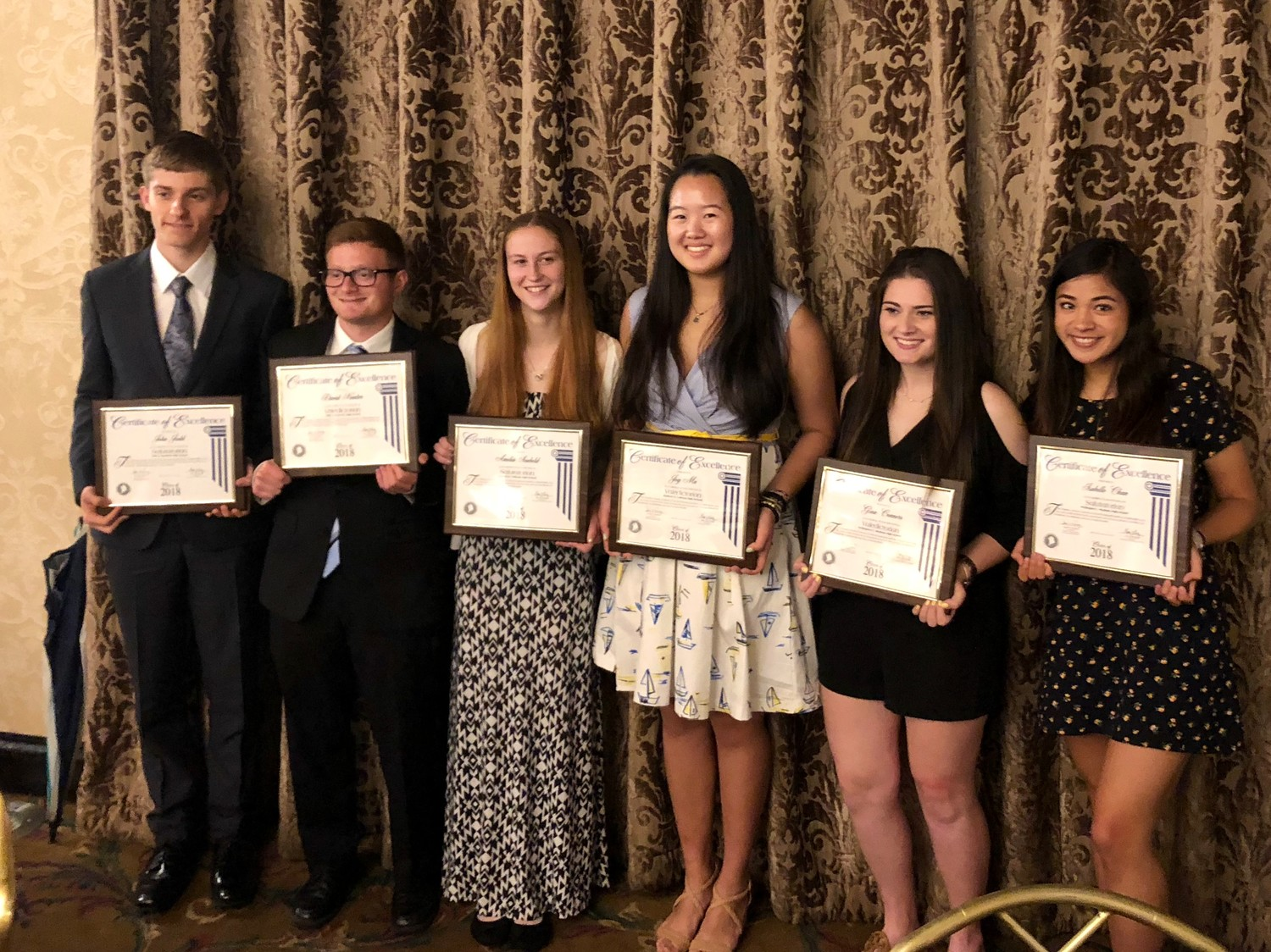 Dylan Judd, far left, David Kantor, Amelia Seabold, Joy Ma, Gina Connors and Isabelle Chan were honored as the Bellmore-Merrick Central High School District's valedictorians and salutatorians at the Crest Hollow Country Club on June 1.