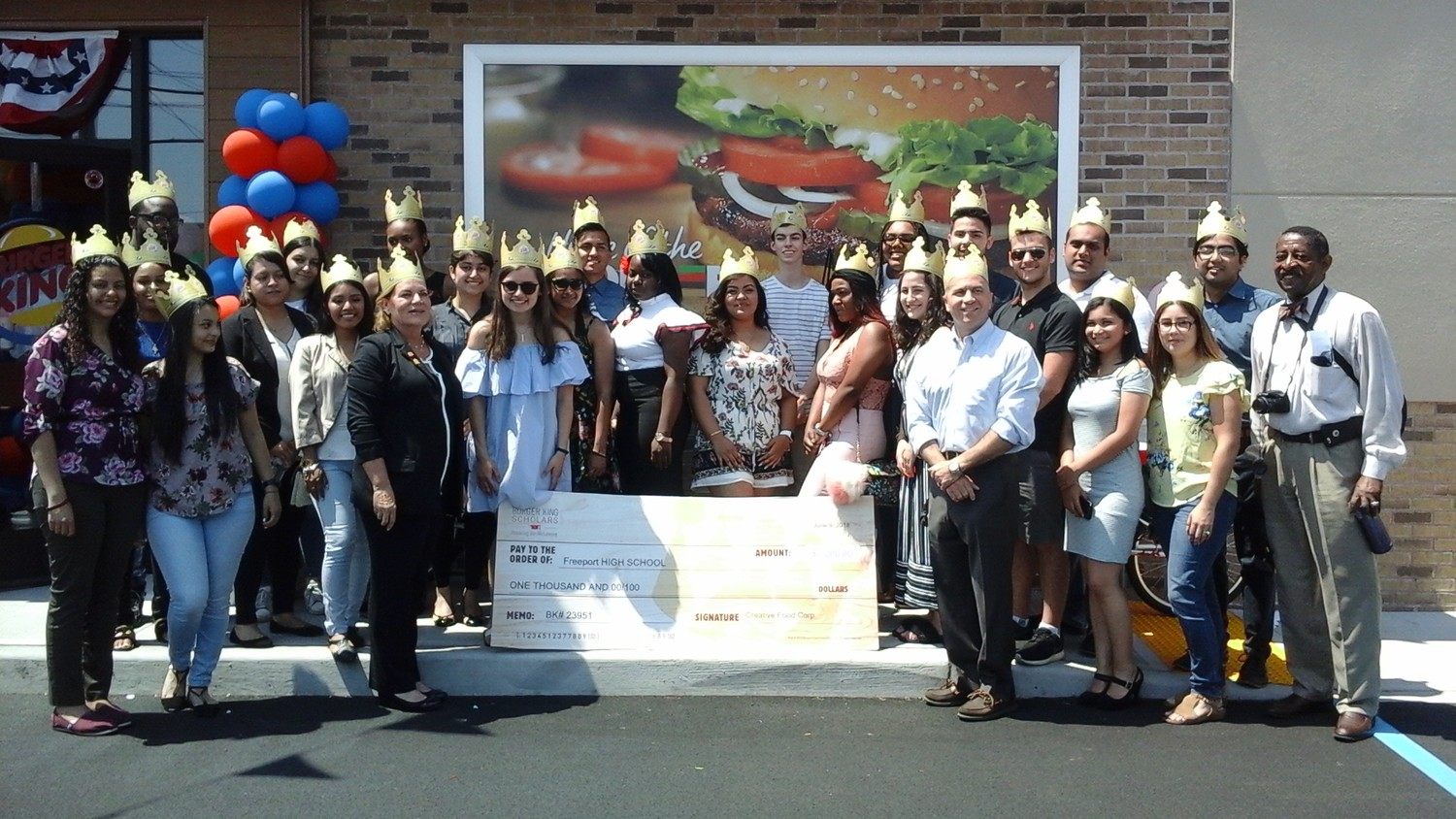 Burger King awarded a whopping $27,000 in scholarships to 27 Nassau County high school seniors, $1000 each, to apply towards their college tuition or expenses.