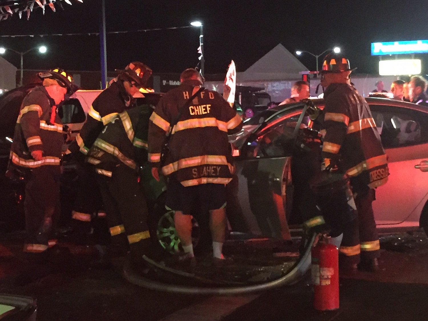 Hewlett firefighters responded to a two-car crash at Mill Road and Peninsula Boulevard in Hewlett on June 16.
