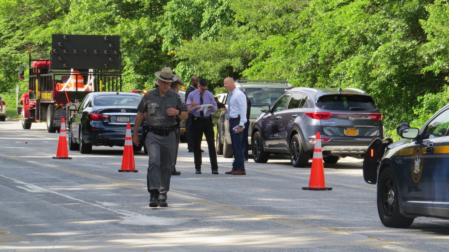 The New York State Police investigated an accident on the Wantagh State Parkway on June 19.