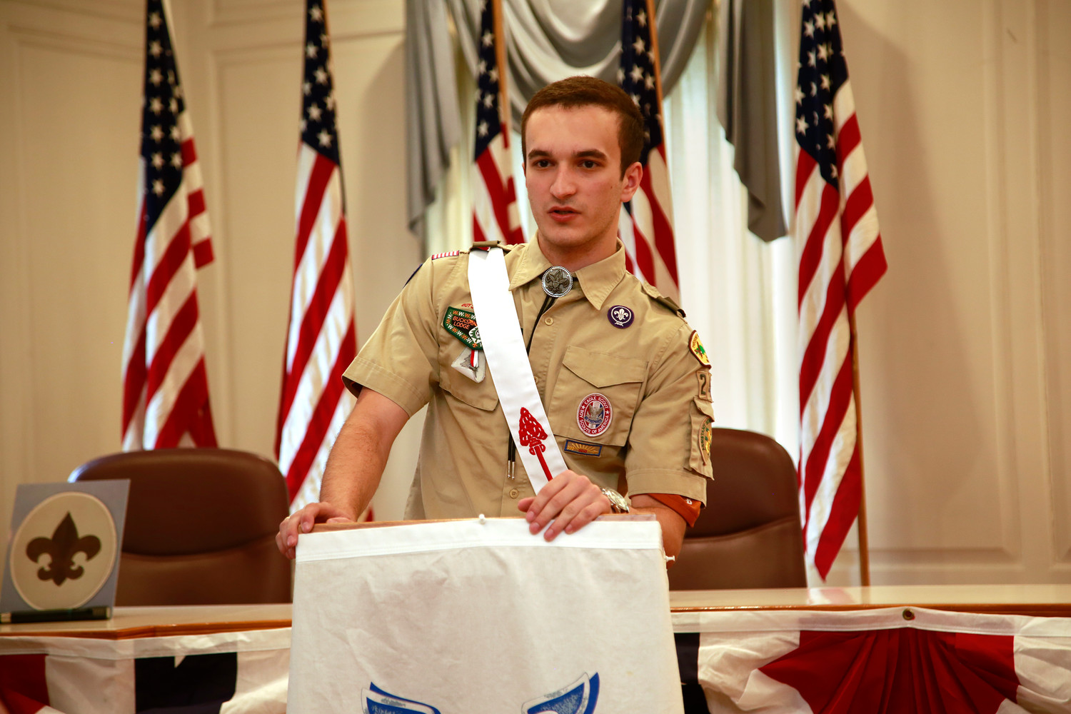 Callahan spoke, above right, to friends and family about his Eagle Scout Court of Honor.