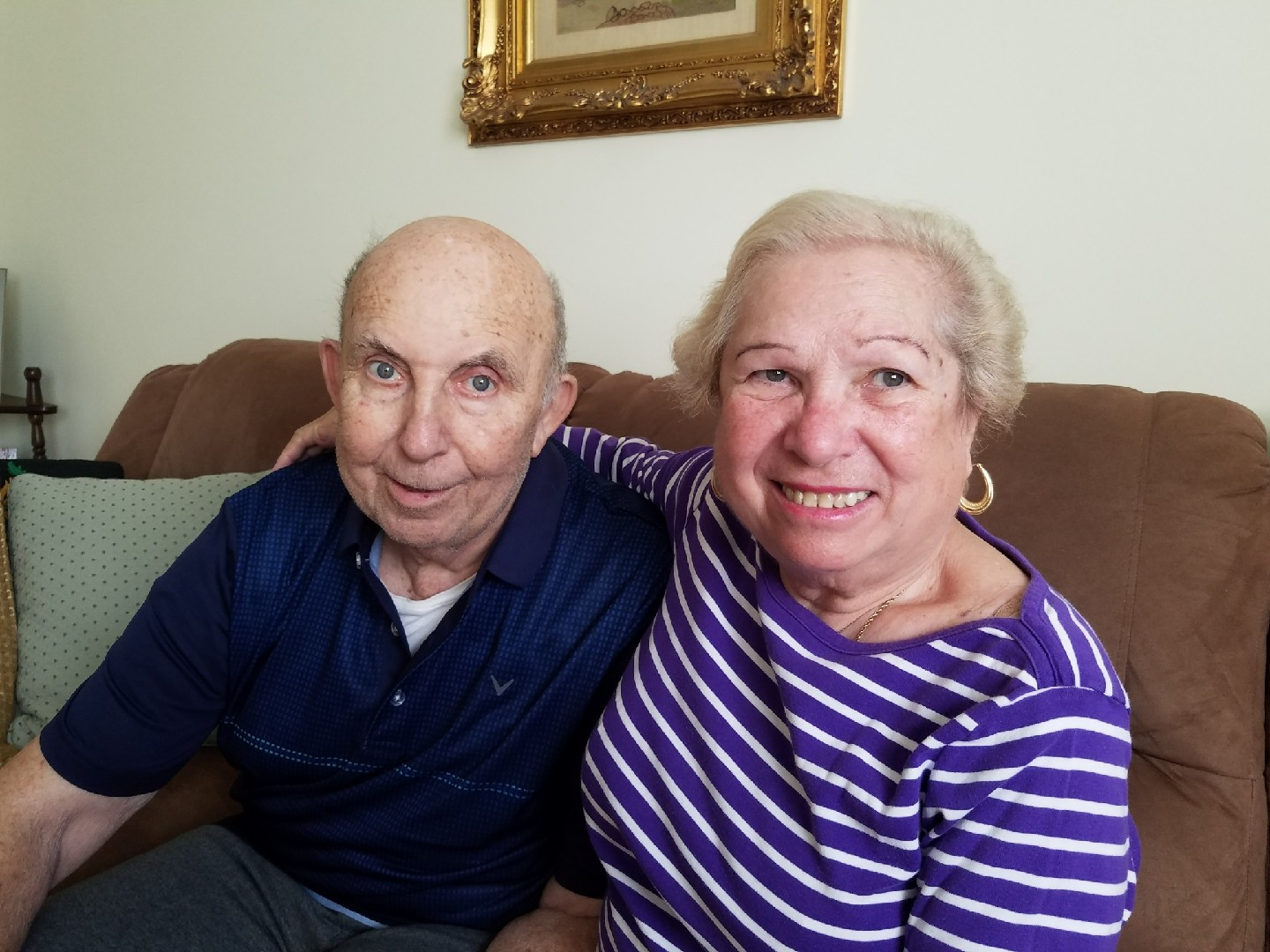 Livia and Tibor Horovitz in their Bellmore home. They have lived there with their daughter, Debbie, and her family since 2003.