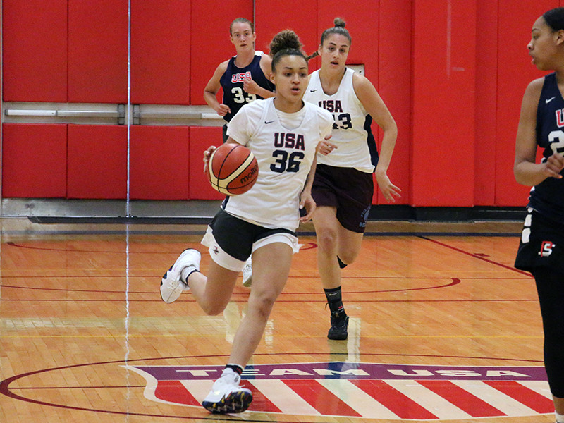 Celeste Taylor, center, made the United States 17-year-old team for the FIBA World Cup.