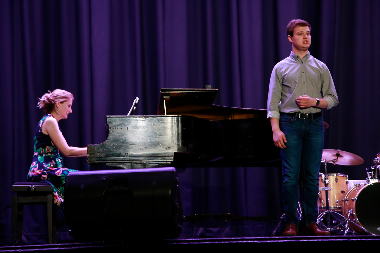 "Nic Marcotrigiano, right, performed ""Du bist wie eine Blume."" South Side High School chorale teacher Dr. Doreen Fryling accompanied him on the piano."