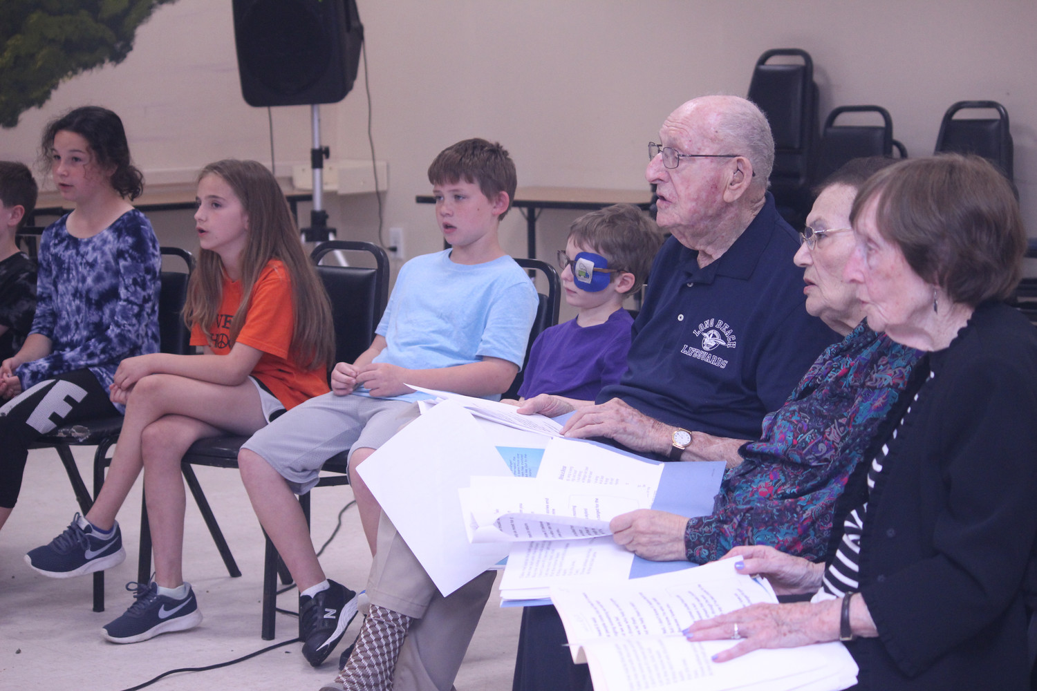 A small ensemble of elderly and young from the Intergenerational Music and Mentoring Program performed songs, both old and new at the Barry and Florence Friedberg Jewish Community Center in Oceanside.