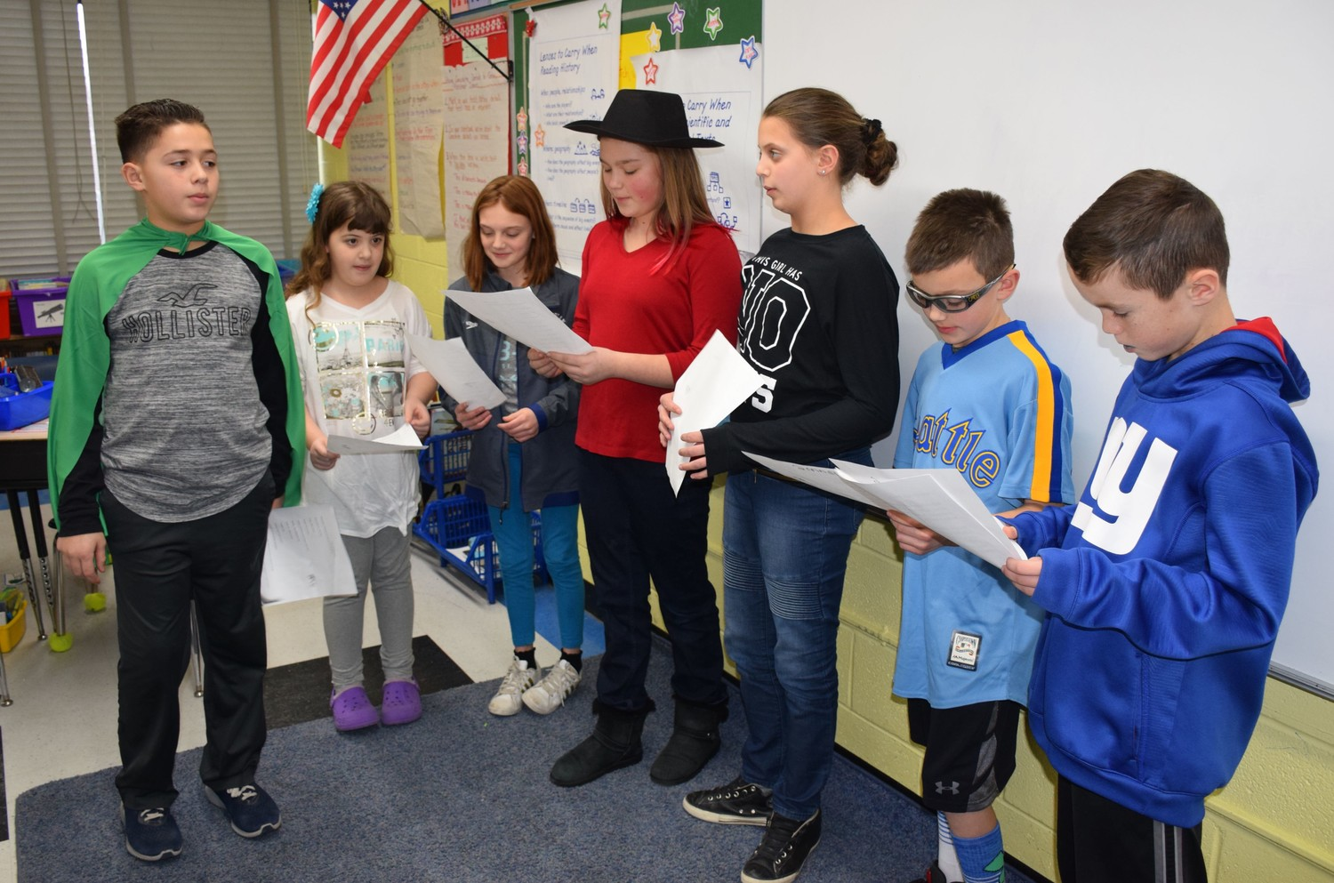 Seaford Harbor Elementary School fifth-graders practiced a bully drill written by one of their peers.