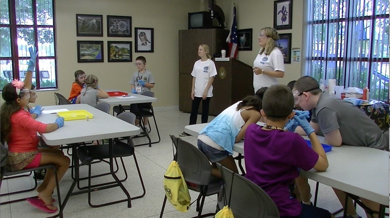 Camp instructors educated the campers on the rules of science and how to interact in the lab.