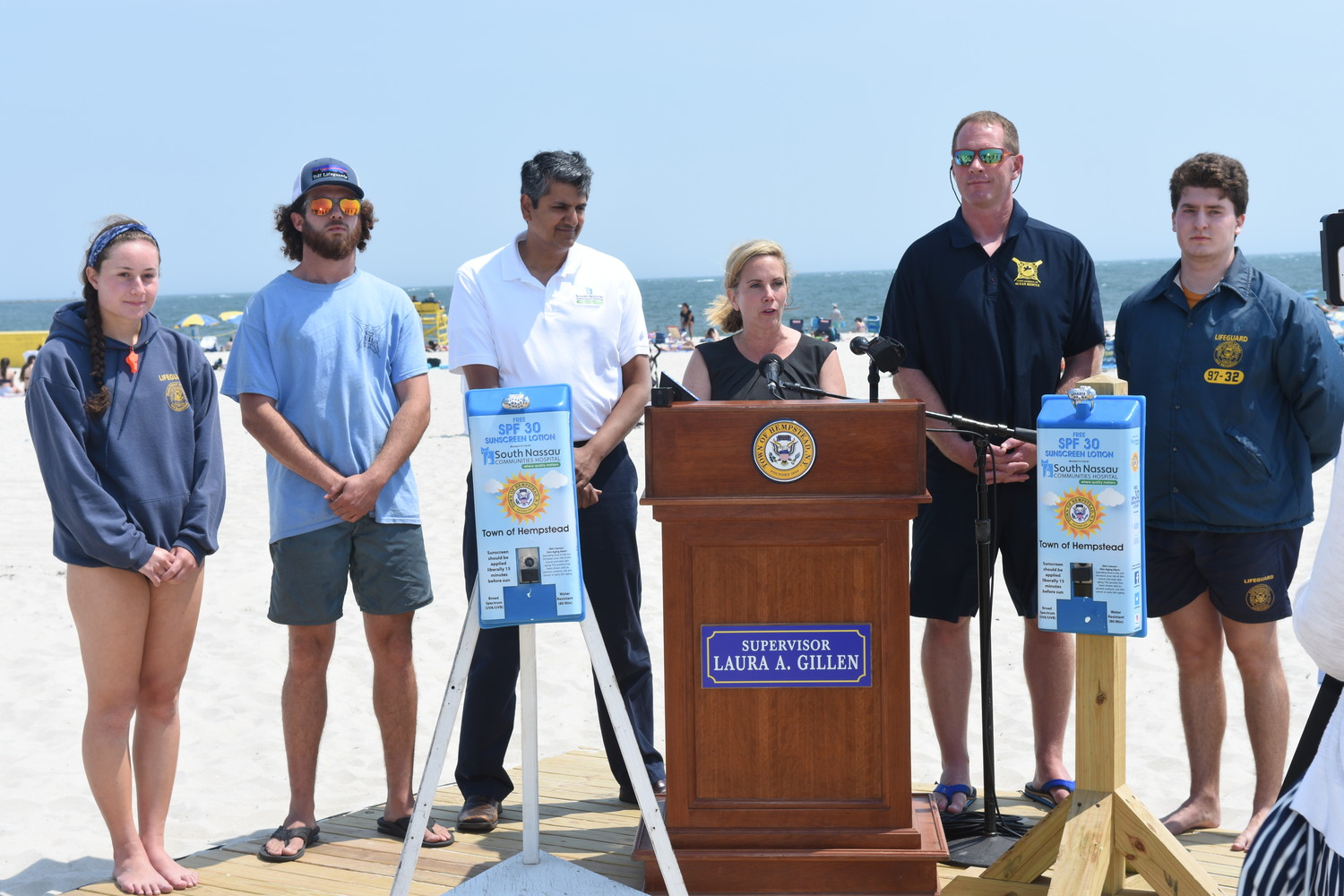 Town of Hempstead officials announced Monday that the town would expand a free sunscreen program at all town beaches, pools and other areas this summer.