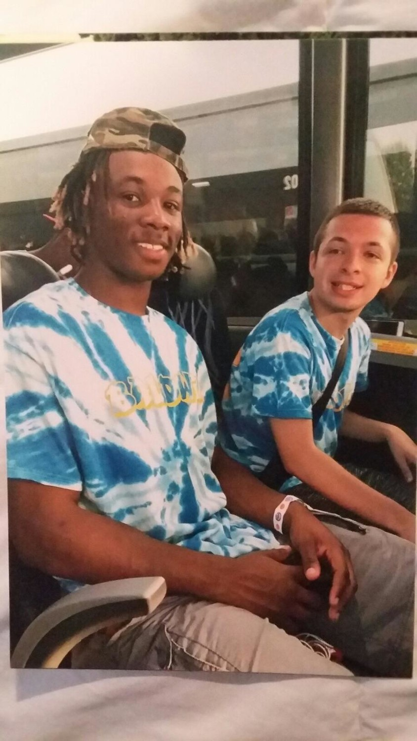 Malcolm, left, and Jesse on the bus to Dorney Park.
