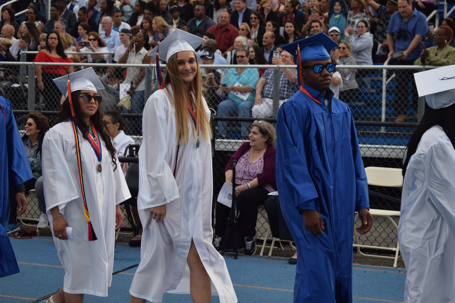 Malverne High School's seniors donned blue and white gowns at their graduation ceremony on June 22, at the high school's football field.