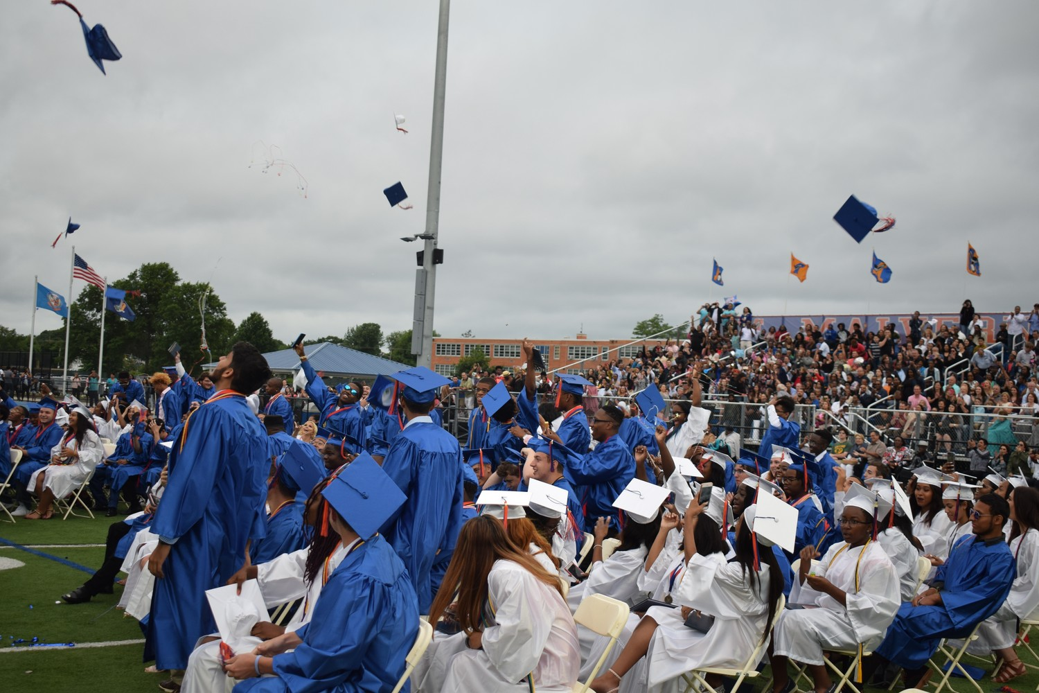 Mortarboards flew high at Malverne High School's graduation ceremony last Friday.