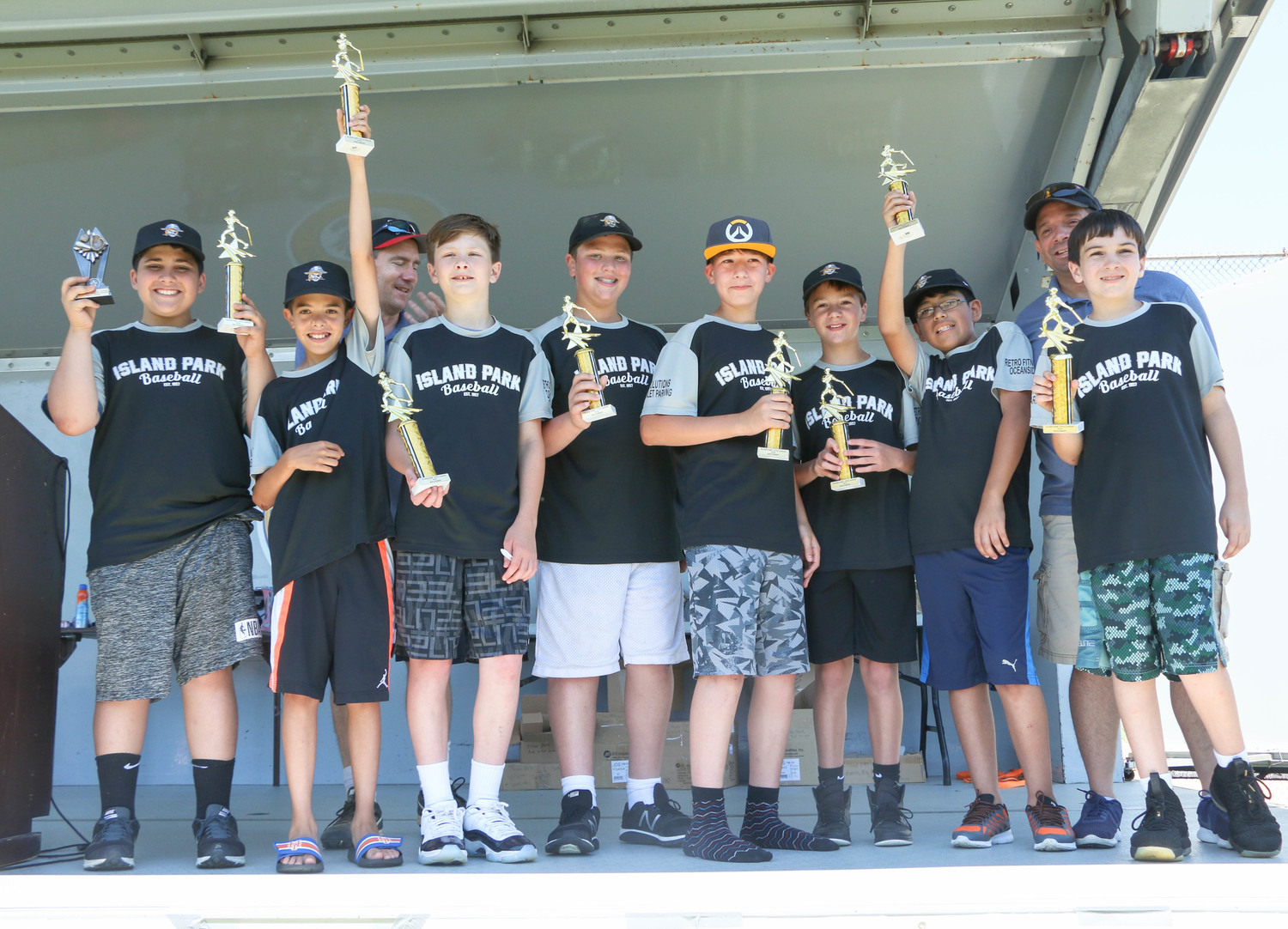 The older kids from the Island Park Buccaneers felt good about getting some trophies.