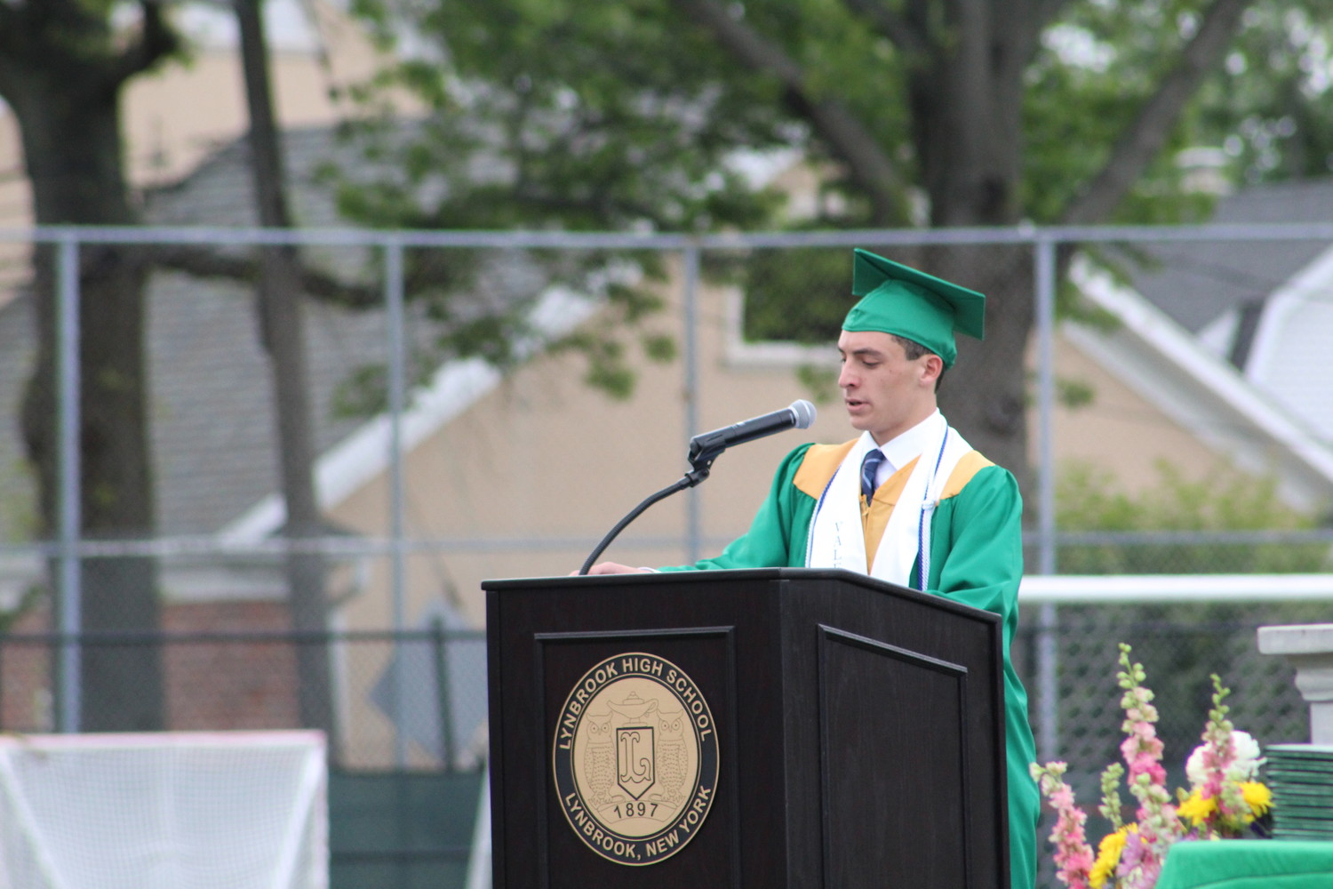 Valedictorian Dustin Mandell spoke about the senior class' accomplishments during his graduation speech.