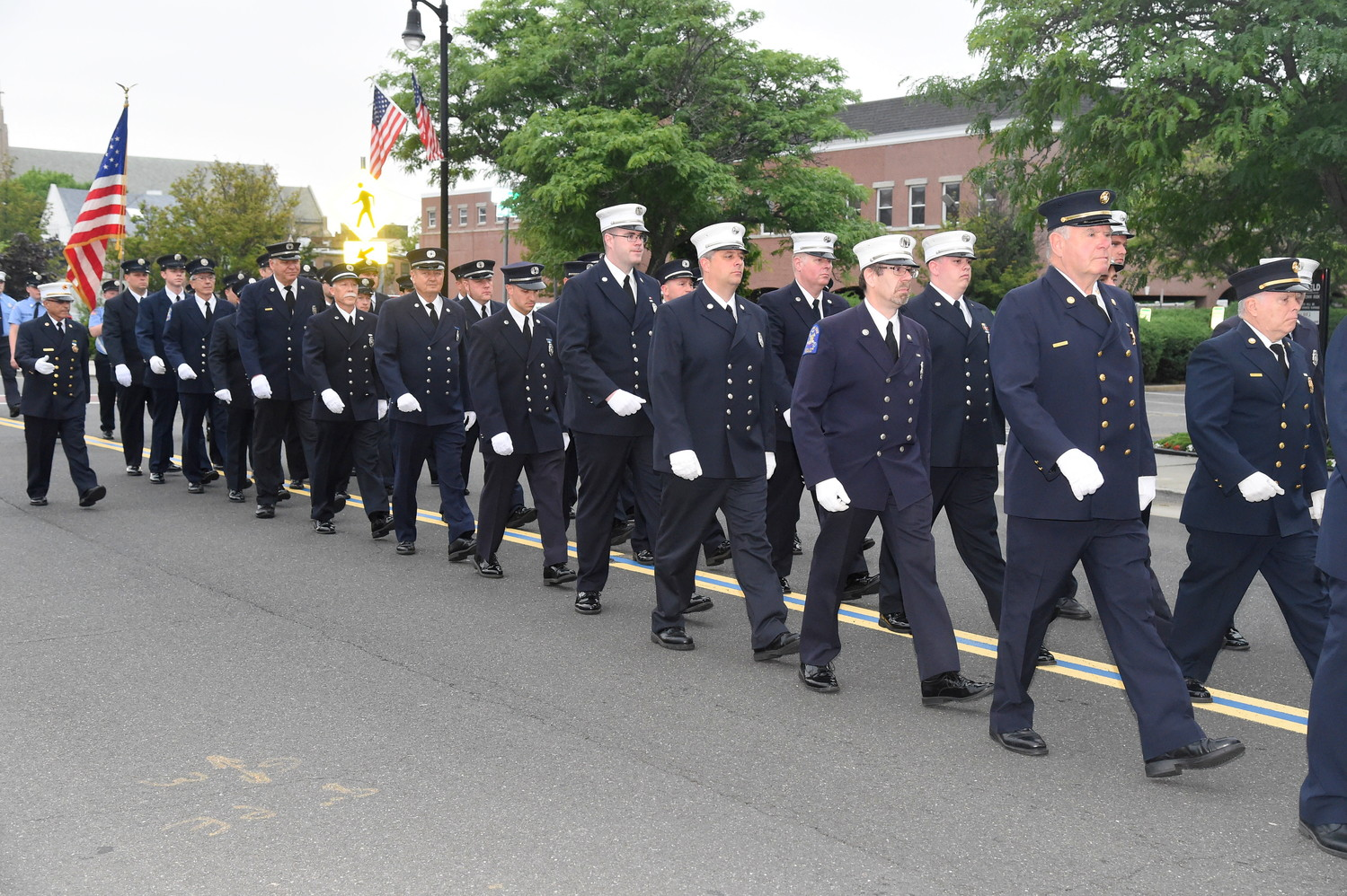 Rockville Centre firefighters marched.