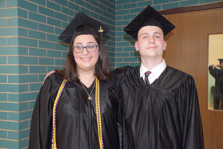 Valedictorian Jordan Ladd, left, and salutatorian Chazz Opperman.
