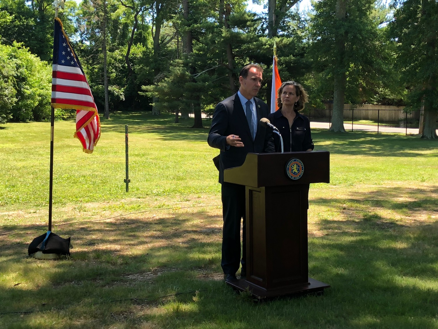 U.S. Rep. Tom Suozzi and County Executive Laura Curran held a press conference after their visit to MercyFirst on Monday, where 10 migrant children from the border are being housed.