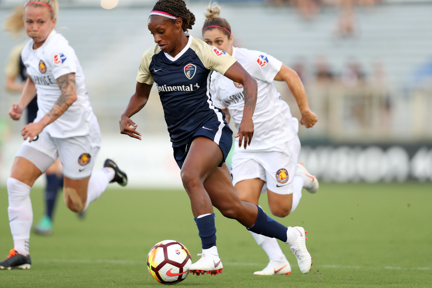Crystal Dunn leads the North Carolina Courage — who sit atop the National Women's Soccer League standings — with six goals this season.