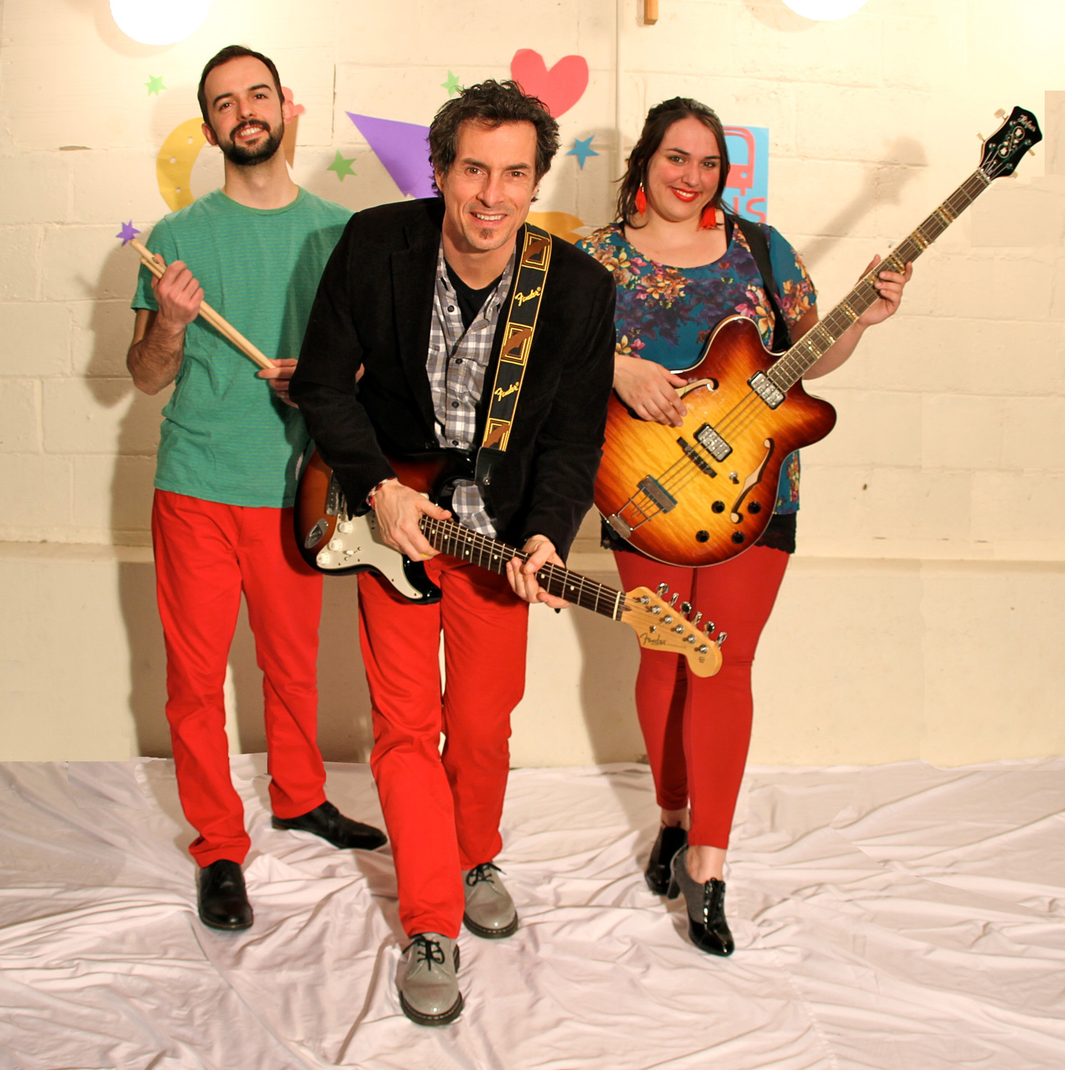 Frontman Danny Weinkauf, center, and his Red Pants band are scheduled to play two shows at the Long Island Children's Museum this summer. Above, Weinkauf with drummer Steve Plesnarski and bassist Tina Kenny Jones