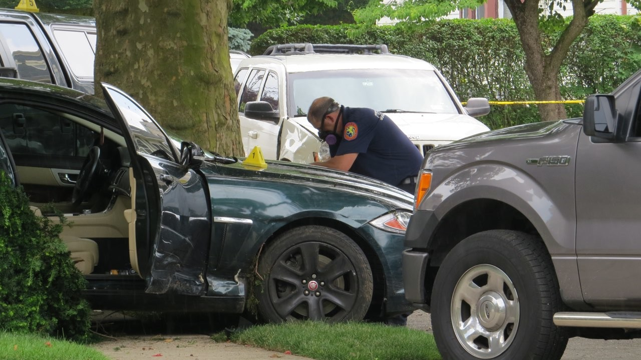 Coram resident Cory Cornish was arrested by U.S. Marshals after crashing into a tree outside a Lynbrook home while speeding away from the officers, who were trying to arrest him on a Suffolk County and a New York state warrant.