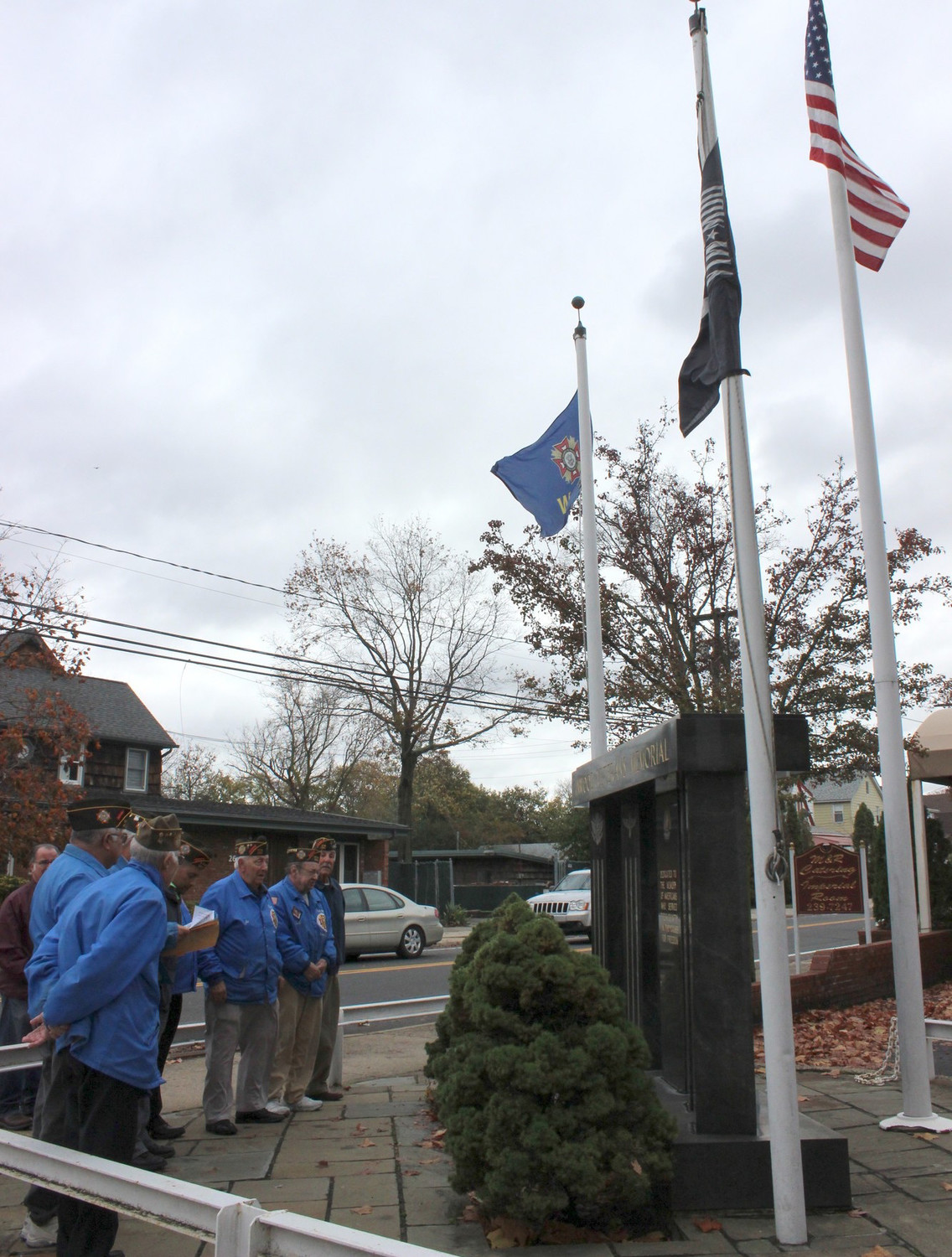 The veterans memorial at the intersection of Mott Avenue and Doughty Boulevard outside the Imperial Room in Inwood 