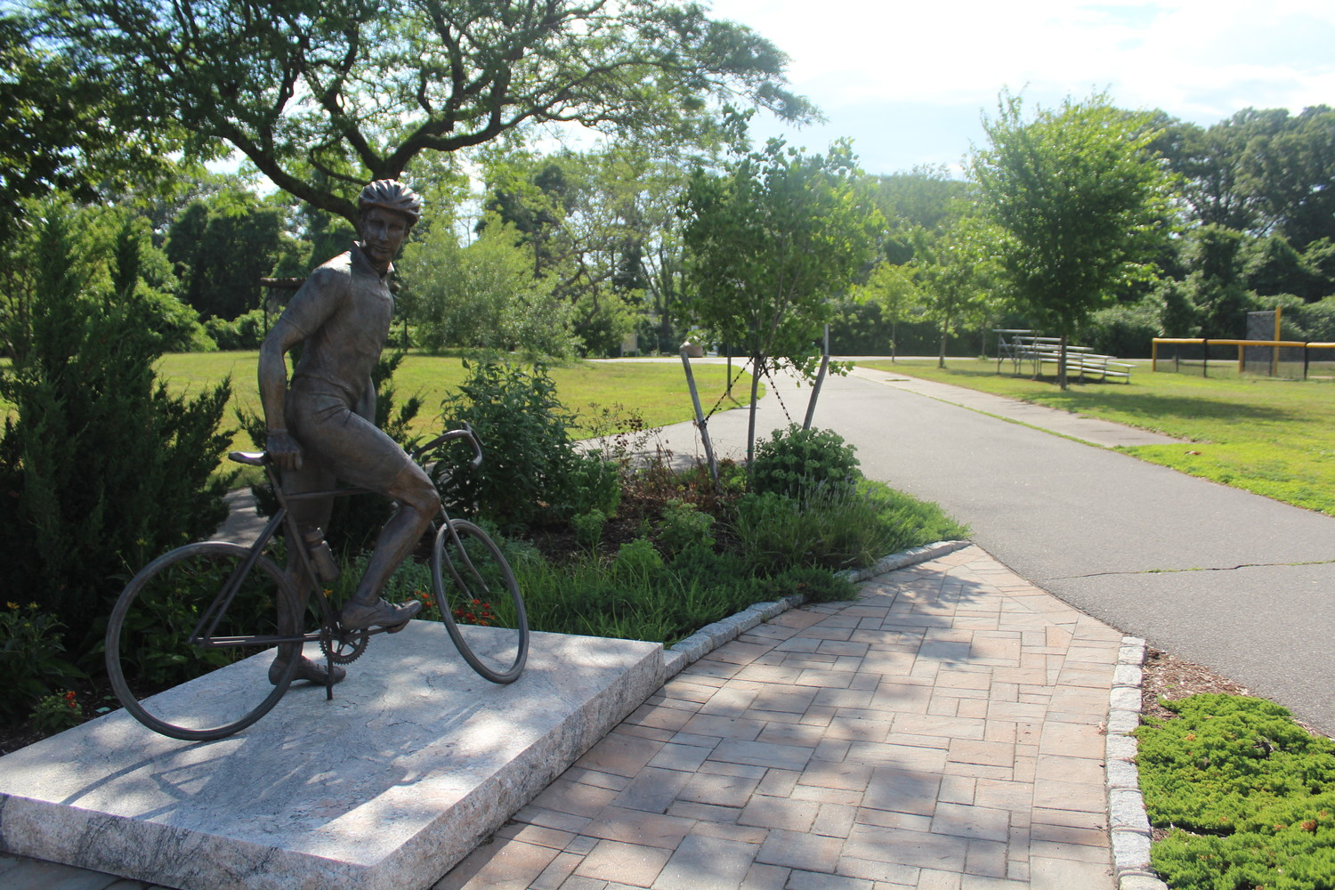 A statue of Matt Scarpati, who was struck and killed on the Jones Beach bike path in 2009, at Cedar Creek Park in Seaford, where the Miles for Matt bicycle marathons take place every year.