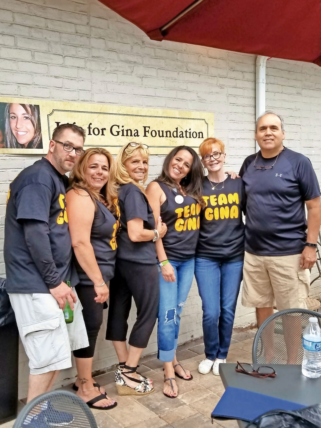 Gina Giallombardo's brother-in-law Eric Davidson, left; sister Janice Davidson; her mother, Marie Giallombardo; sister Jennifer Bartholomew; and boyfriend's mother and father, Mimi and Art Calvo attended the fundraiser.