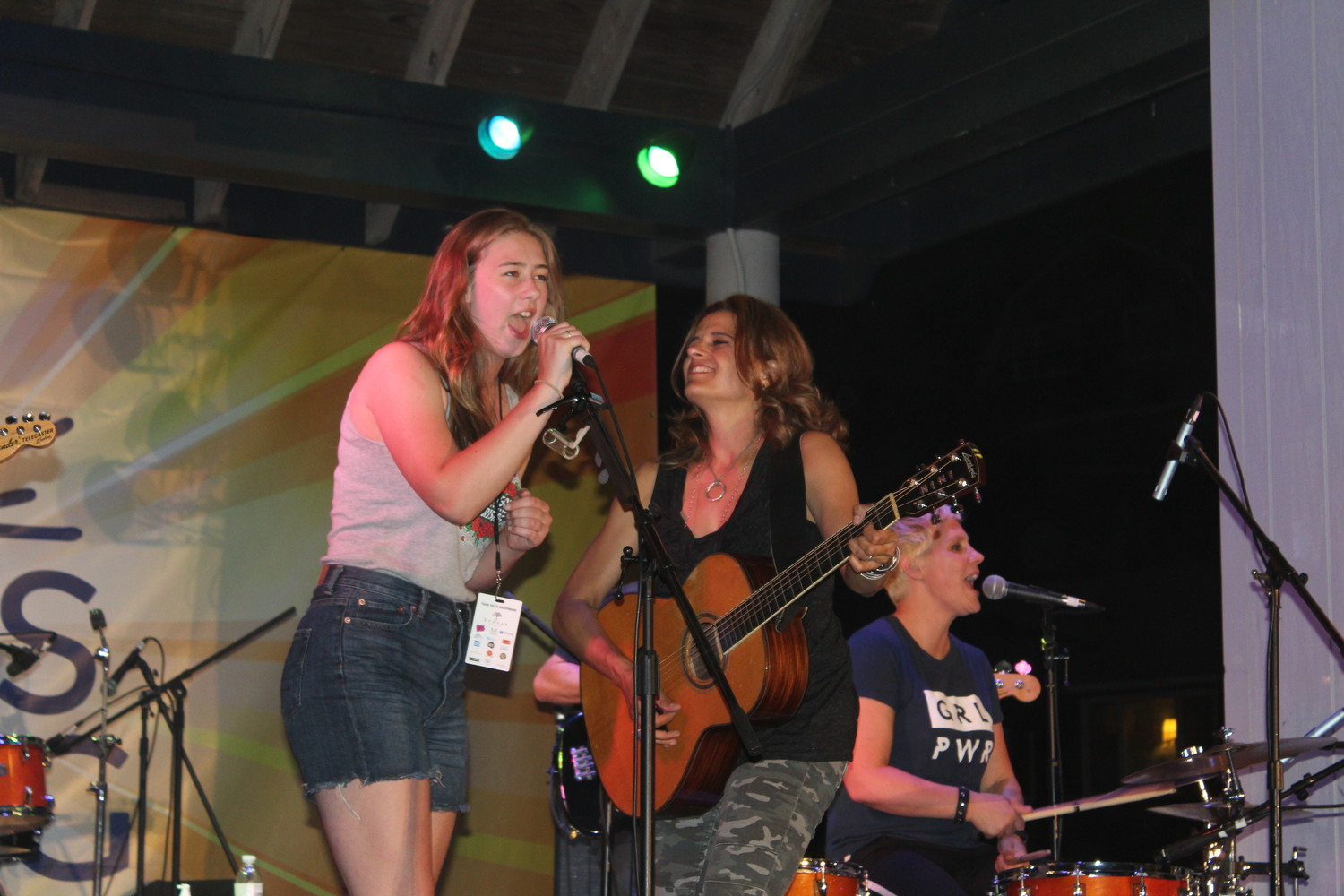 "Vocal powerhouse Ella Oswald, left, of Sea Cliff, sang Antigone Rising's song ""My Town,"" which was written about Sea Cliff."