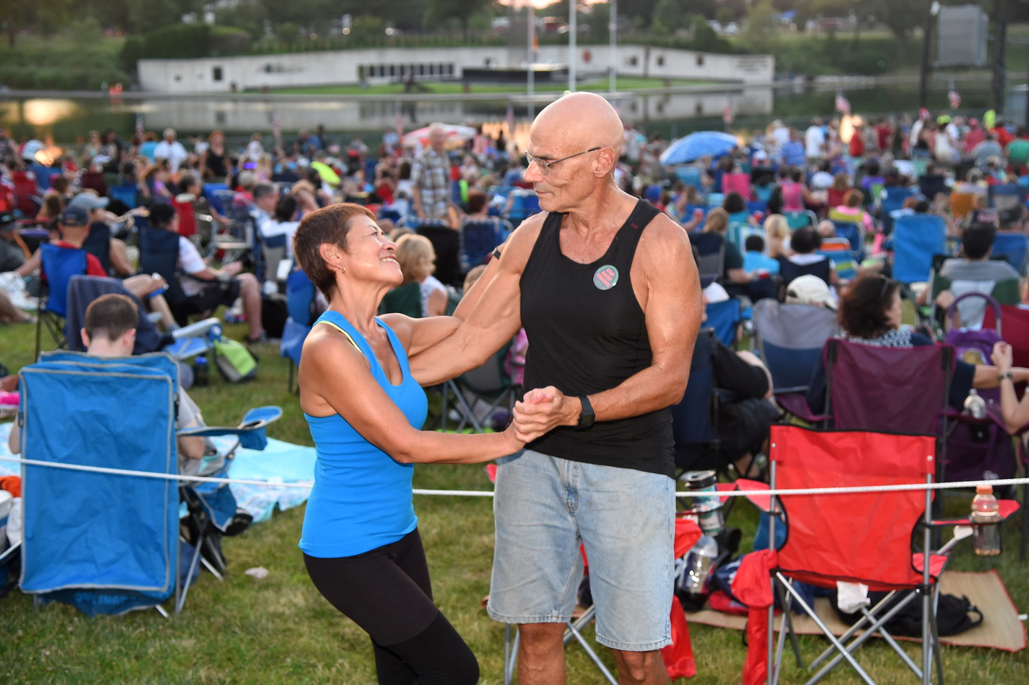 Diana Cohen and her husband, Hillel, of Rosedale, danced to classic 1970s pop hits as the sun set before the firework display.