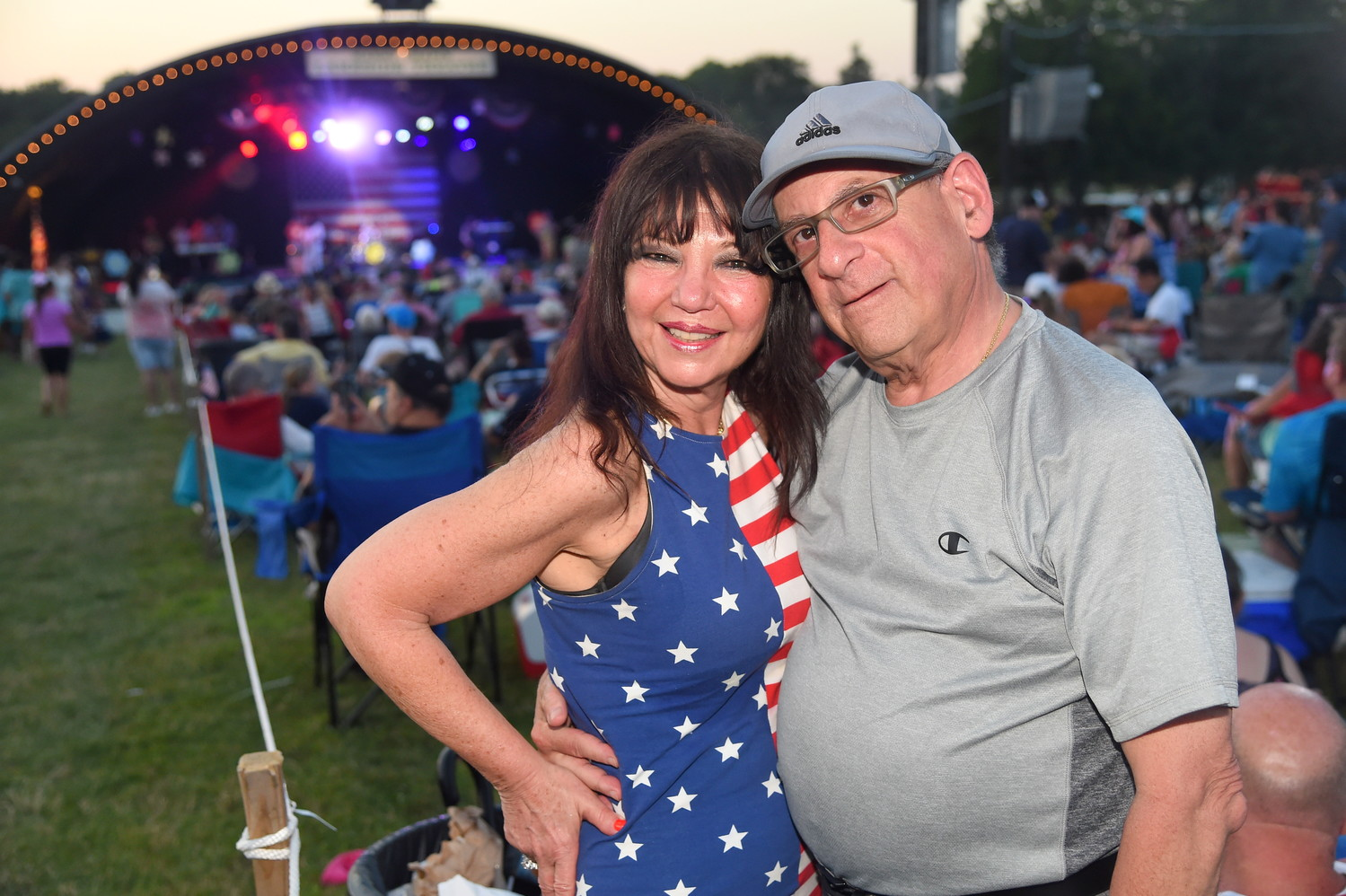Sharon and Howard Fields, of Merrick, watched the fireworks display.