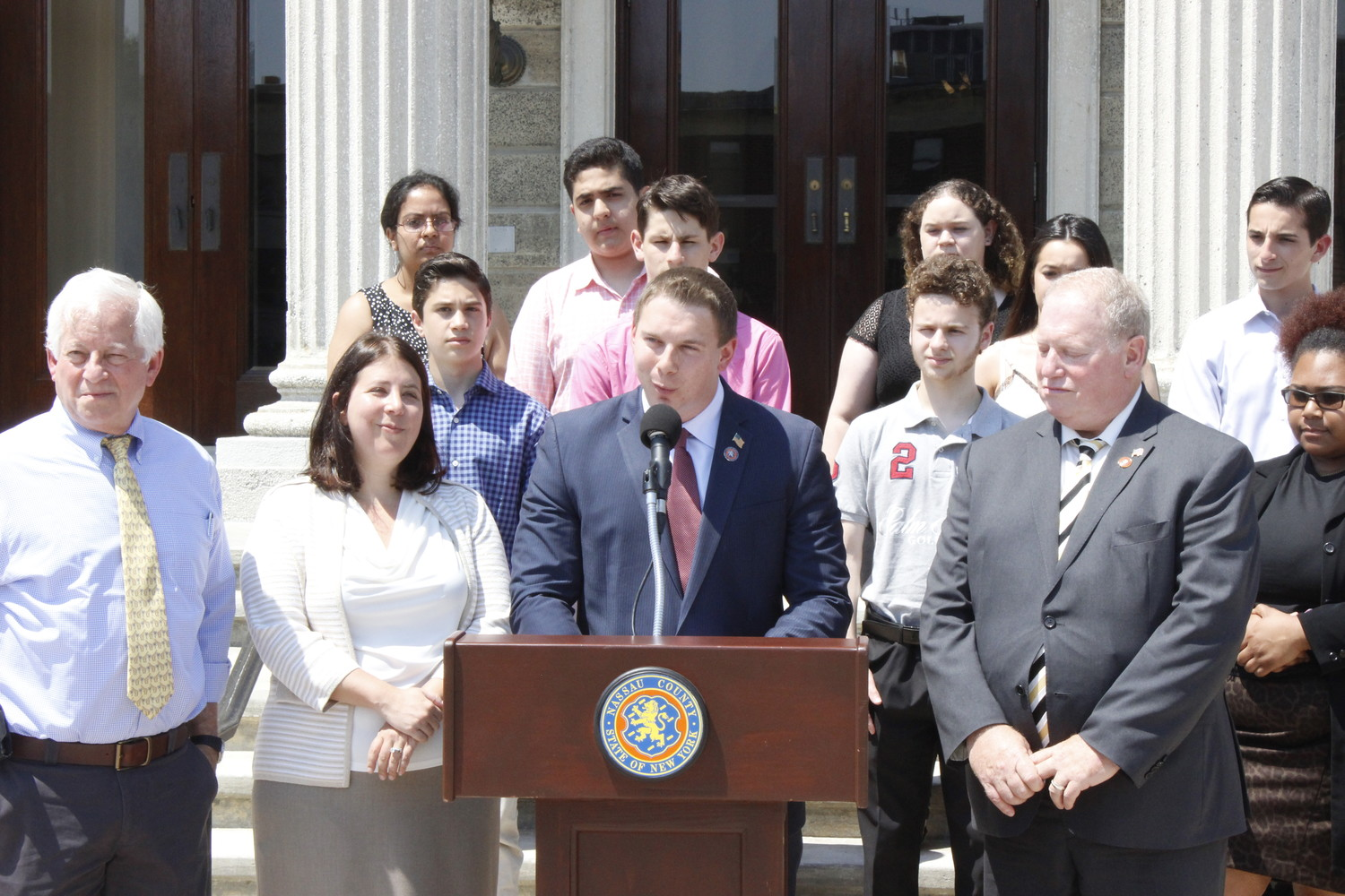 At a July 2 news conference at the offices of the Nassau County Legislature, a newly formed group of lawmakers called Nassau Unity announced their plans to combat the separation of families at the U.S. border.