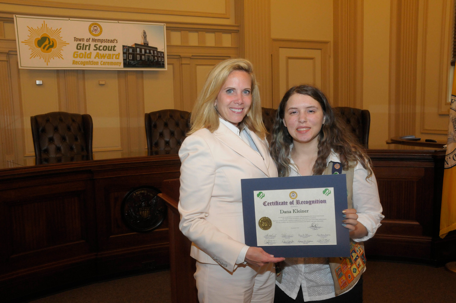 Dana Kleiner is a recipient of the Girl Scouts Gold Award.