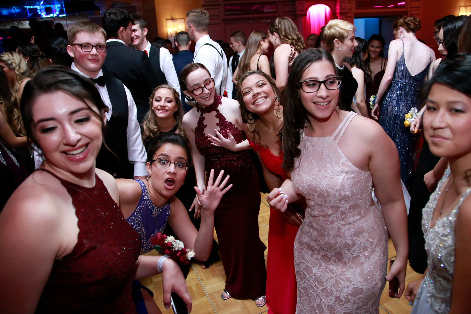 Excited promgoers mugged for the camera.