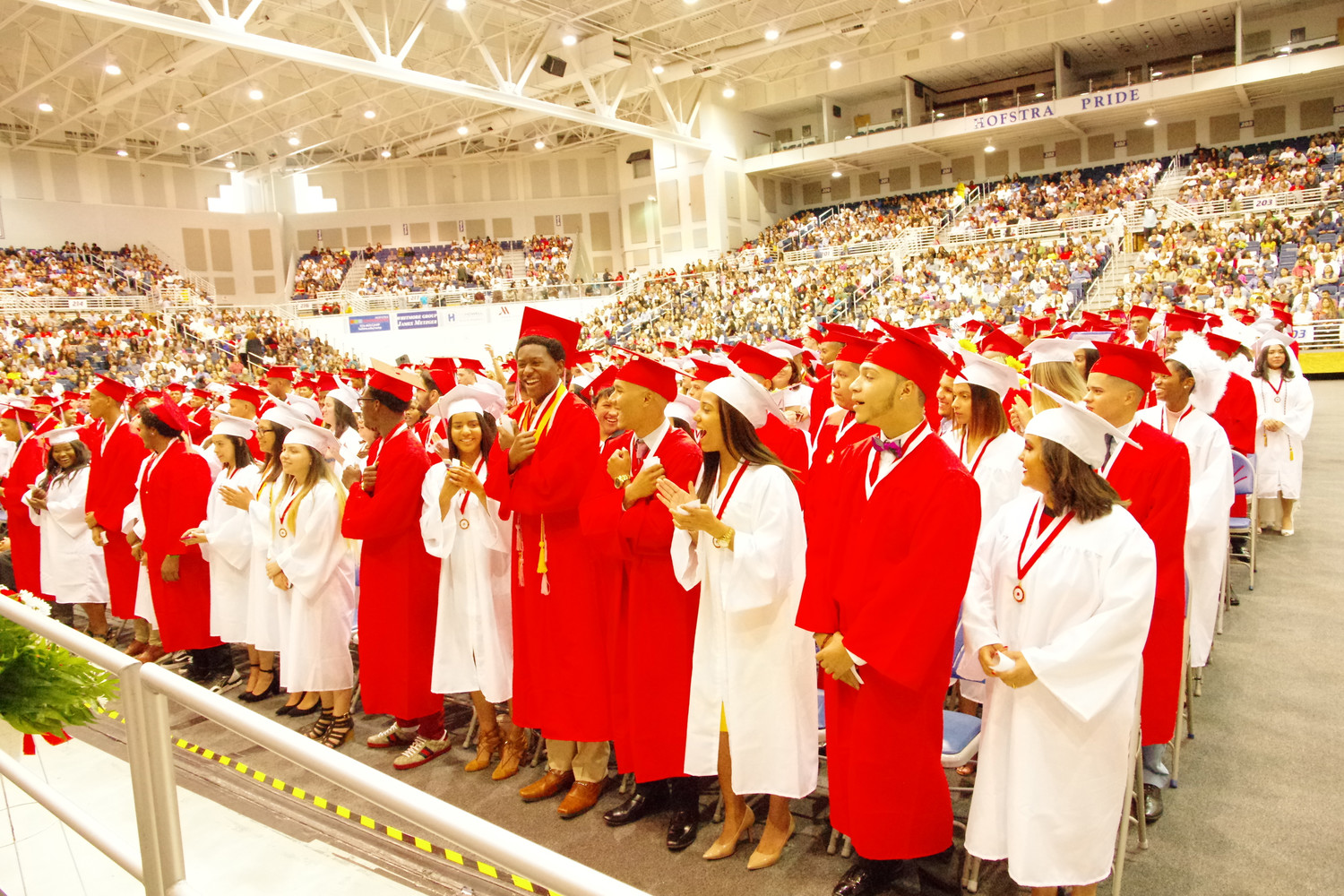 Members of the Freeport High School class of 2018 cheered at their June 27 graduation ceremony at Hofstra University's David S. Mack Sports and Exhibition Complex.